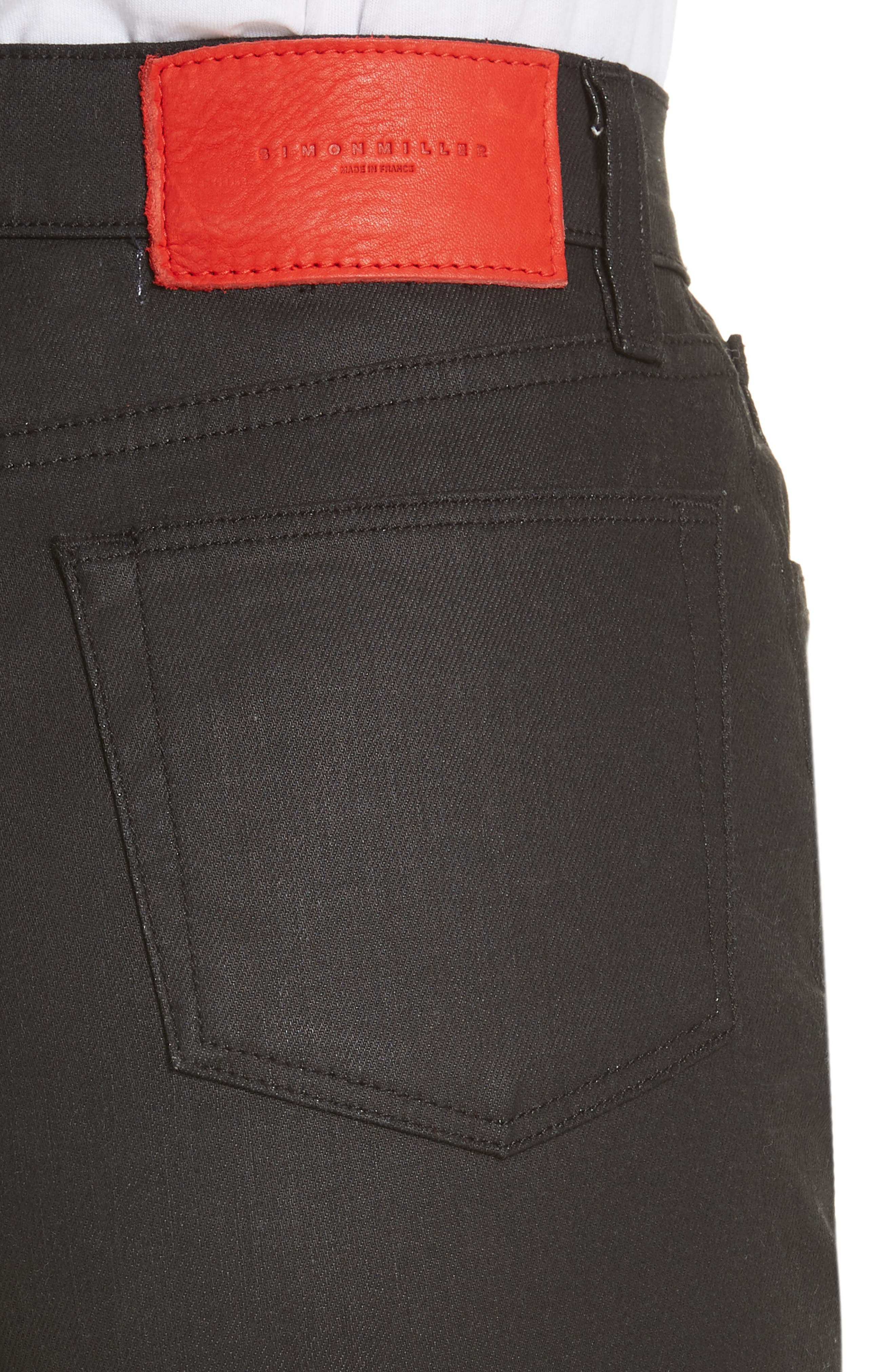 x Paramount Grease Coated Skinny Jeans,                             Alternate thumbnail 4, color,                             DANNY BLACK