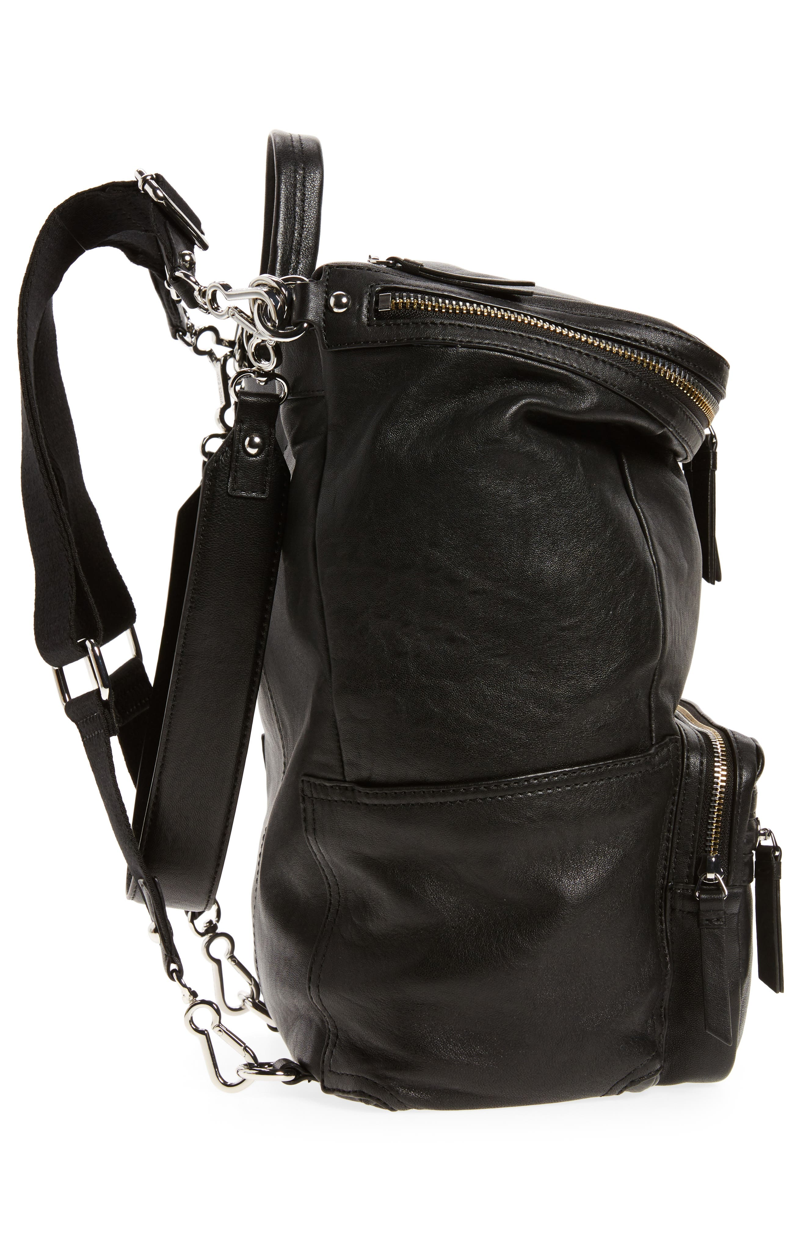 Patch Convertible Leather Backpack,                             Alternate thumbnail 5, color,                             002