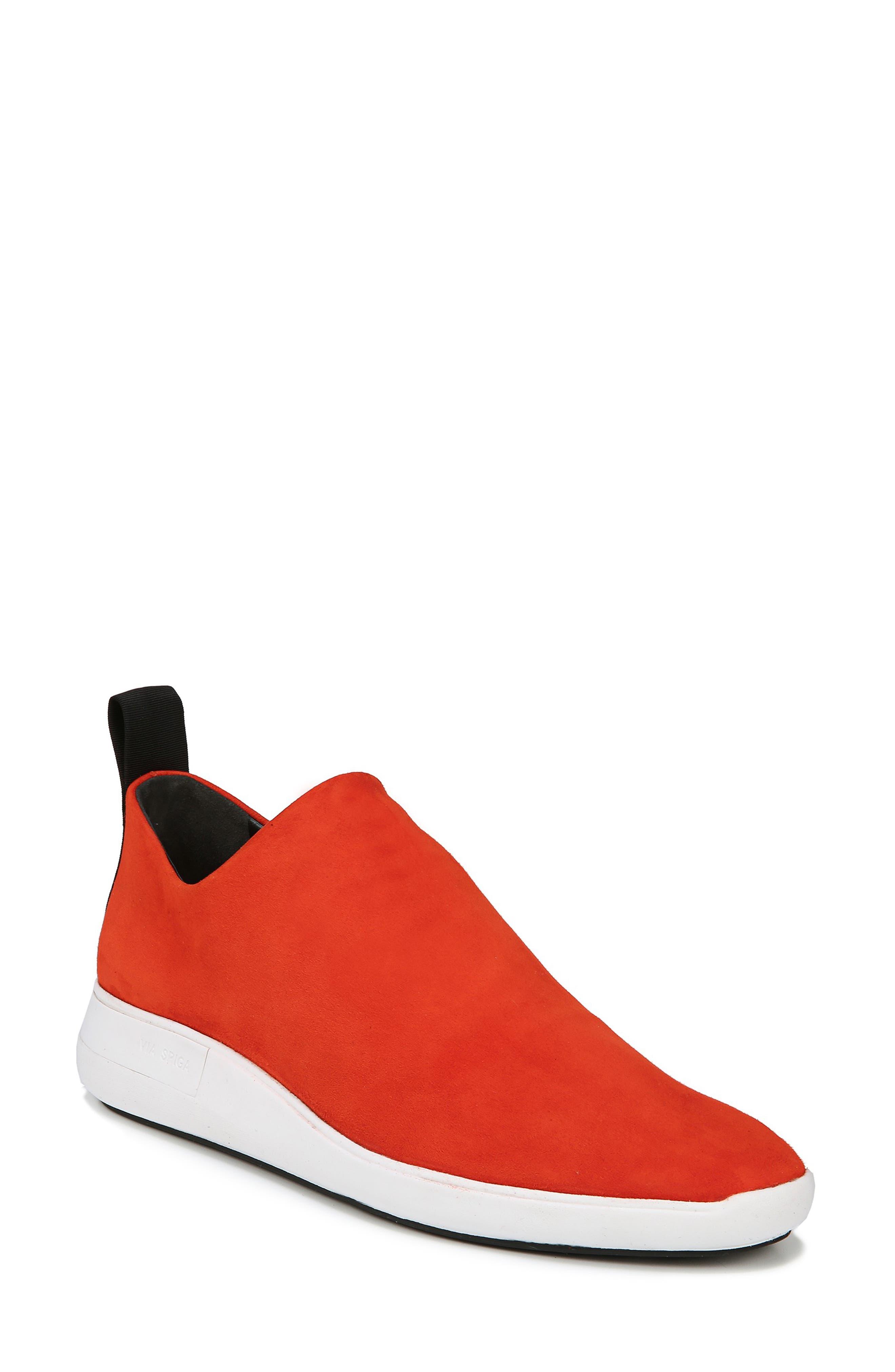 Marlow Stretch-Suede Sock Sneakers in Sienna