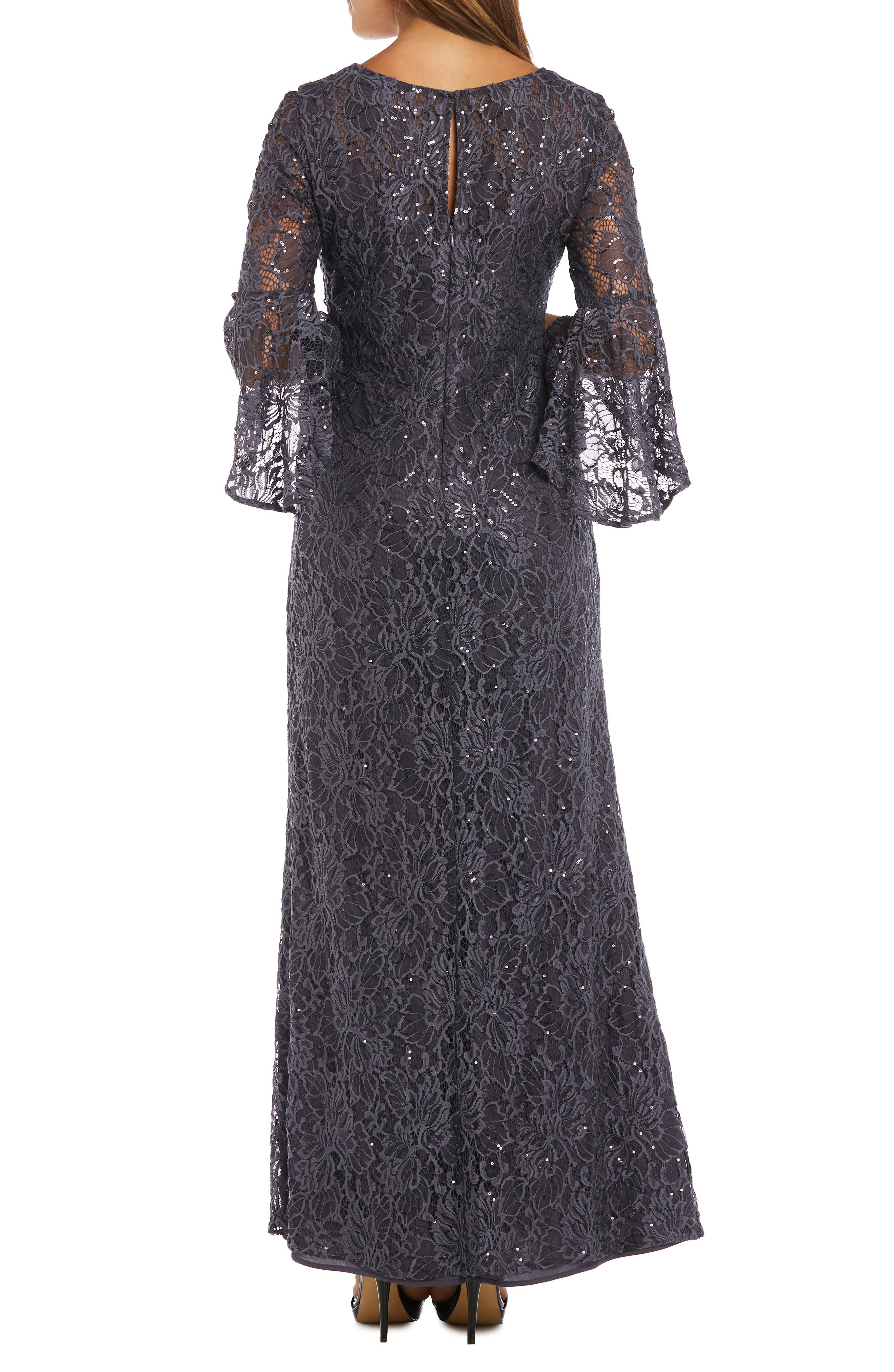 MORGAN & CO.,                             Sequin Embellished Gown,                             Alternate thumbnail 2, color,                             CHARCOAL