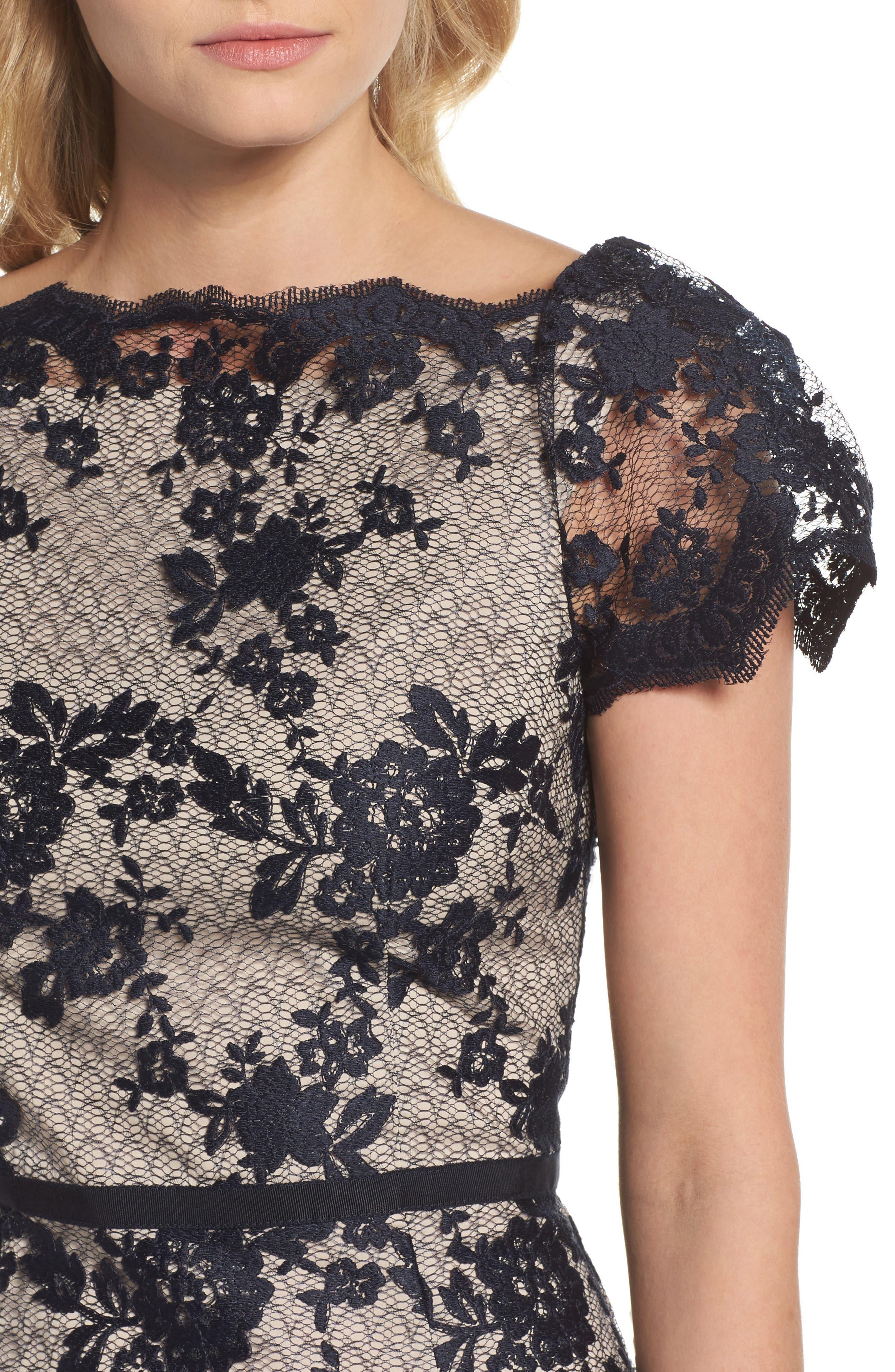 Lace Sheath Dress,                             Alternate thumbnail 4, color,                             402