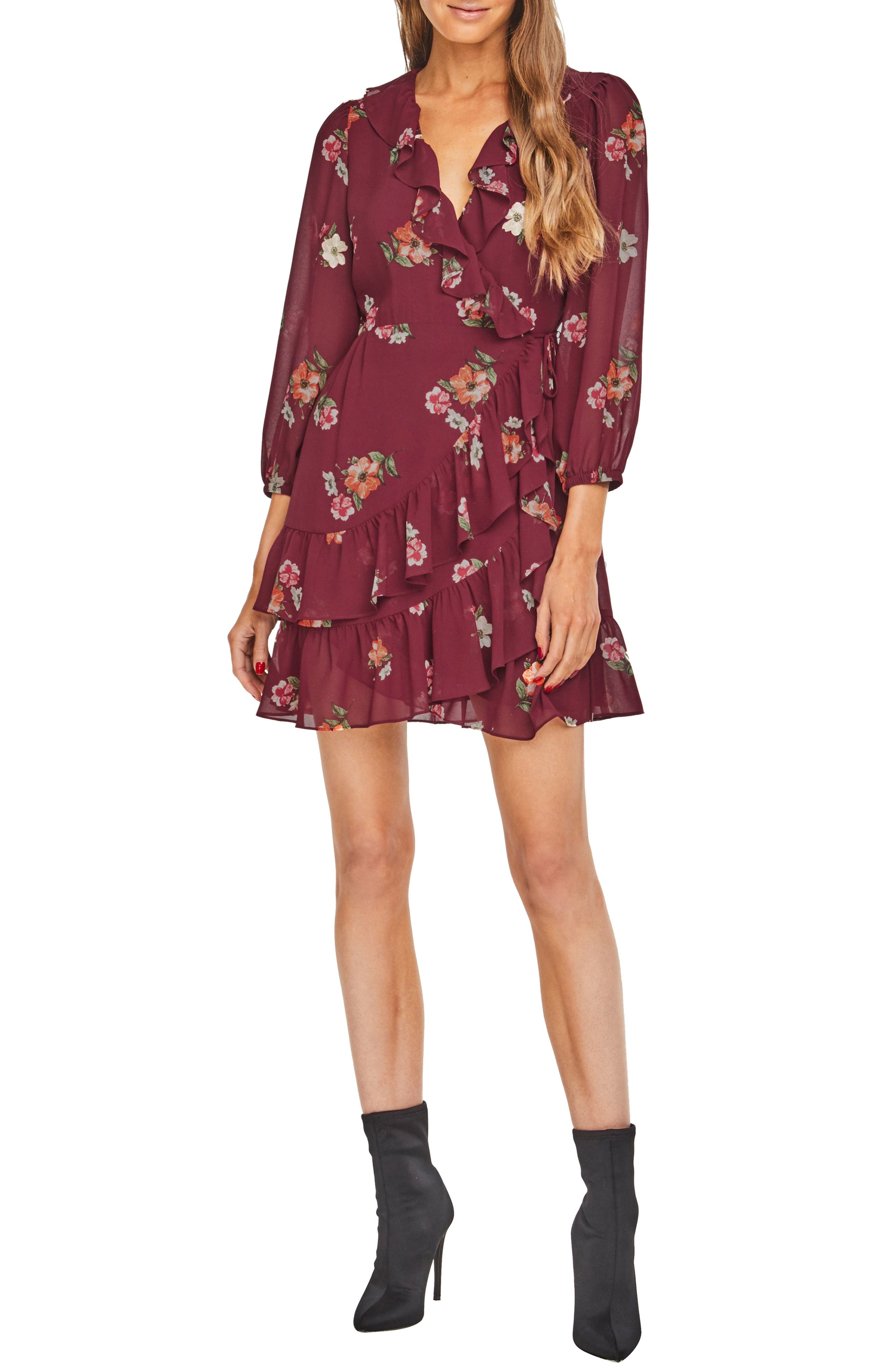Astr The Label Cheyanne Ruffle Dress, Burgundy