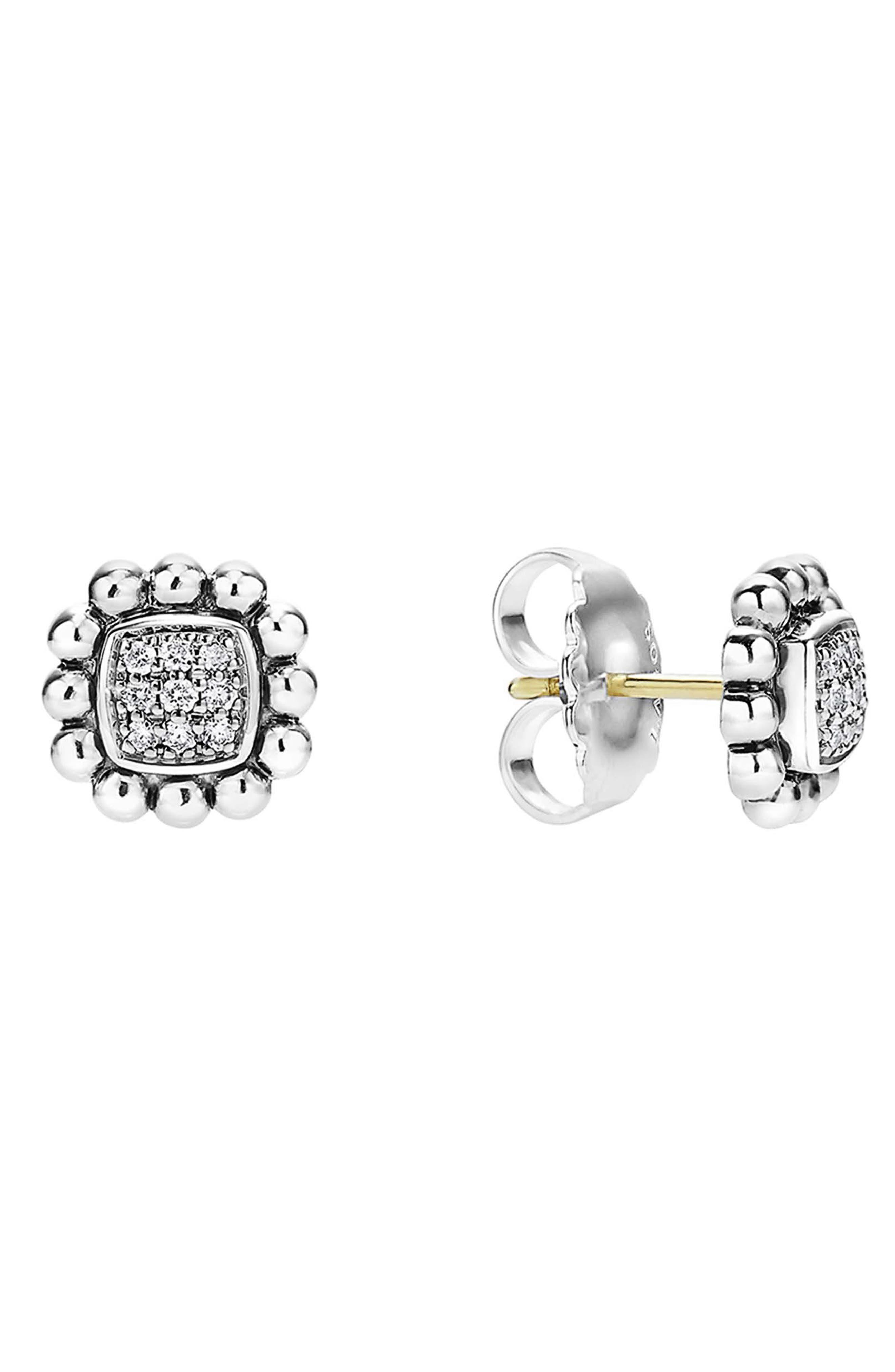 Caviar Spark Diamond Square Stud Earrings,                             Main thumbnail 1, color,                             SILVER/ DIAMOND