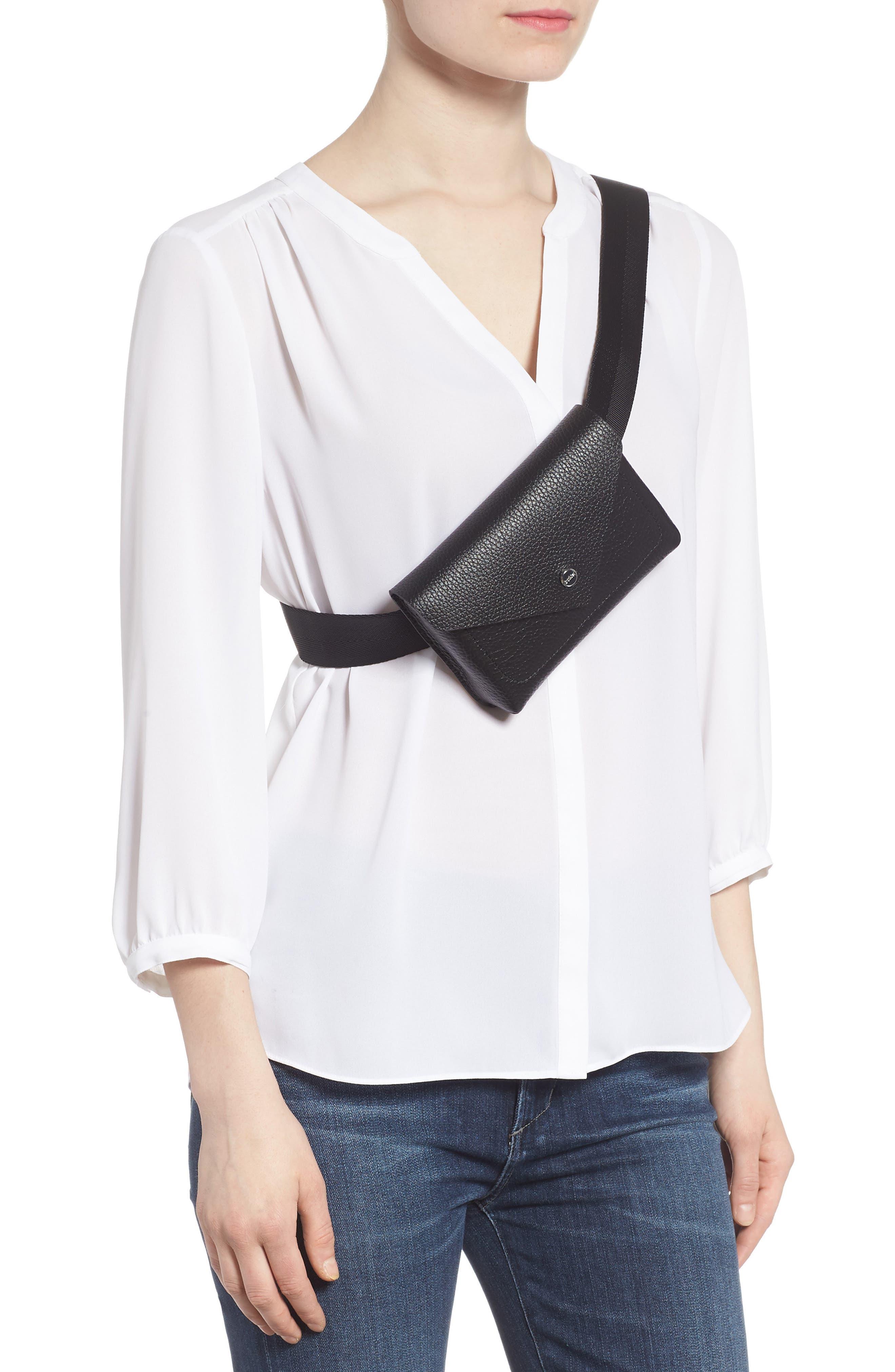 Vivi Calfskin Leather Convertible Belt Bag,                             Alternate thumbnail 3, color,                             BLACK