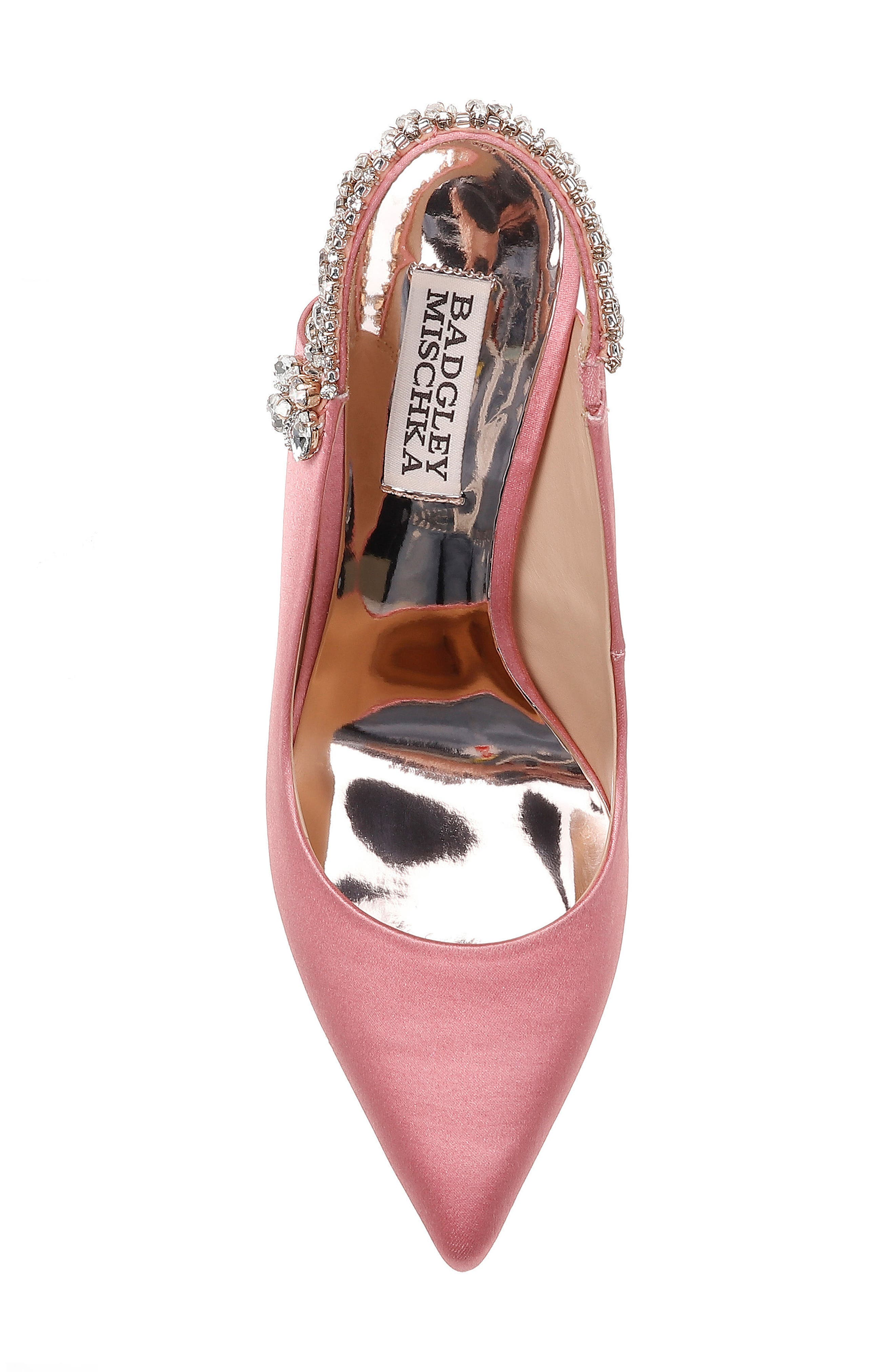 Paxton Pointy Toe Slingback Pump,                             Alternate thumbnail 5, color,                             ROSE SATIN