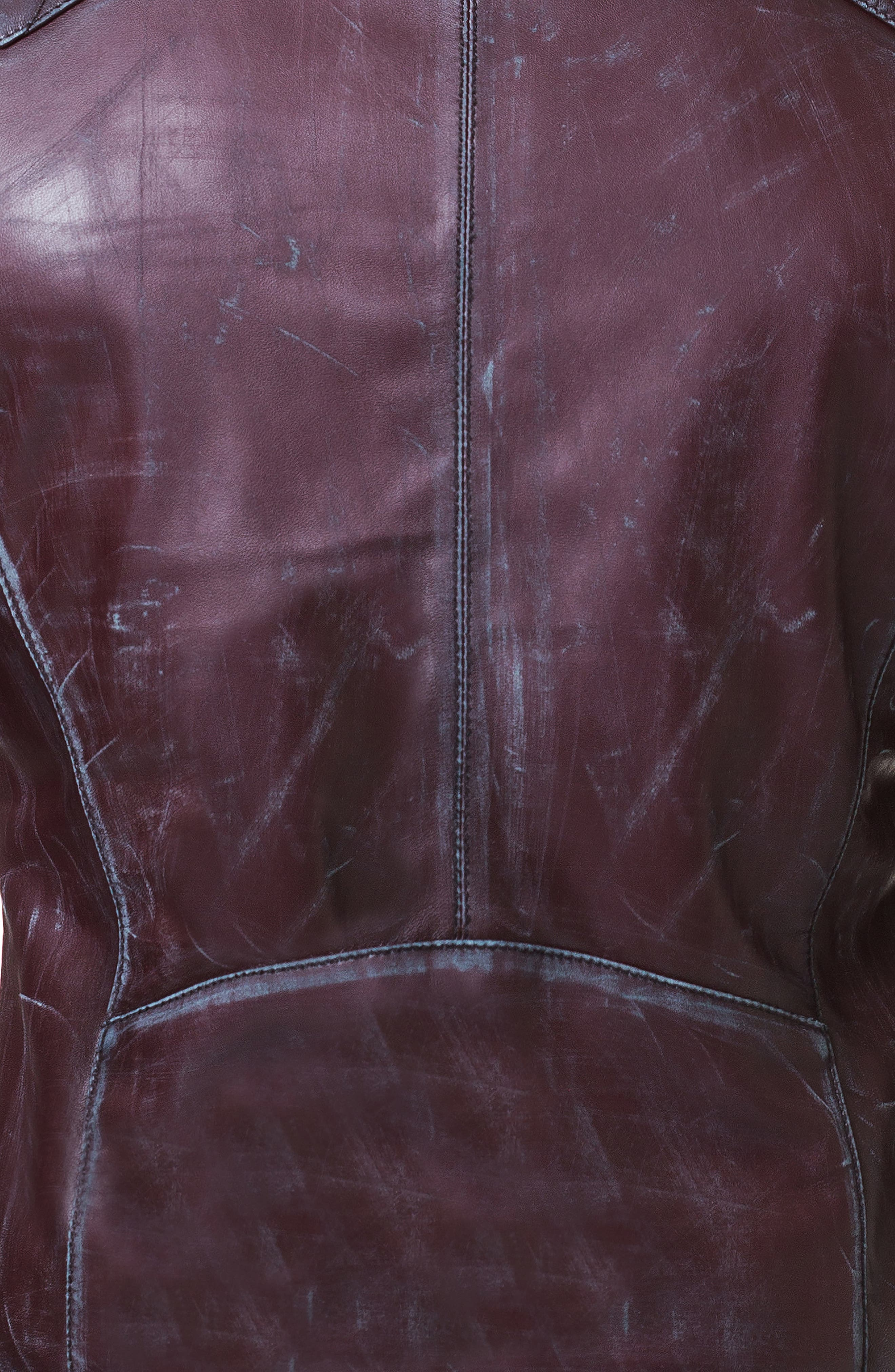 Quilted Leather Jacket,                             Alternate thumbnail 3, color,                             RED