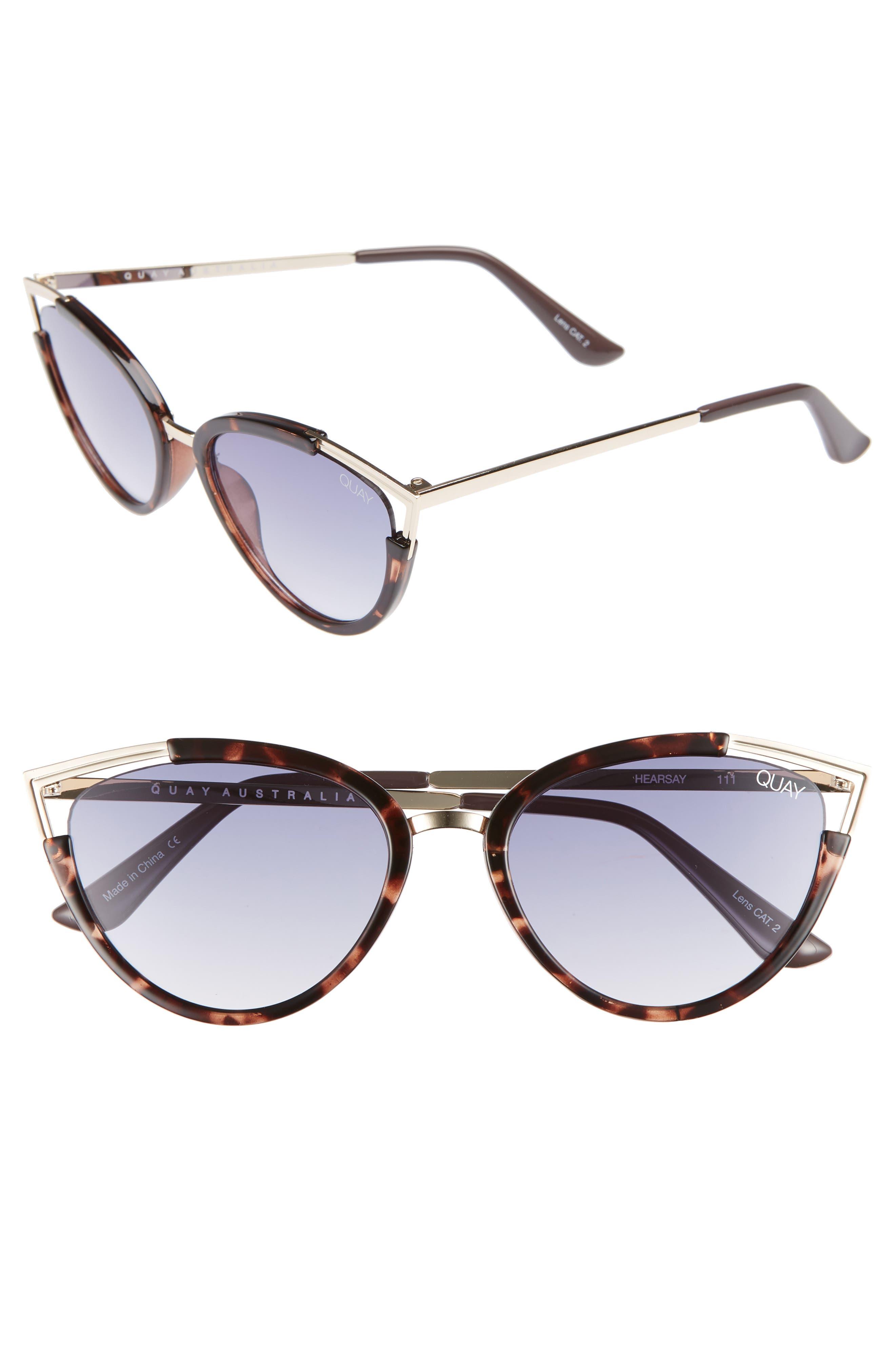 Hearsay 65mm Cat Eye Sunglasses,                             Main thumbnail 1, color,                             TORT/ NAVY