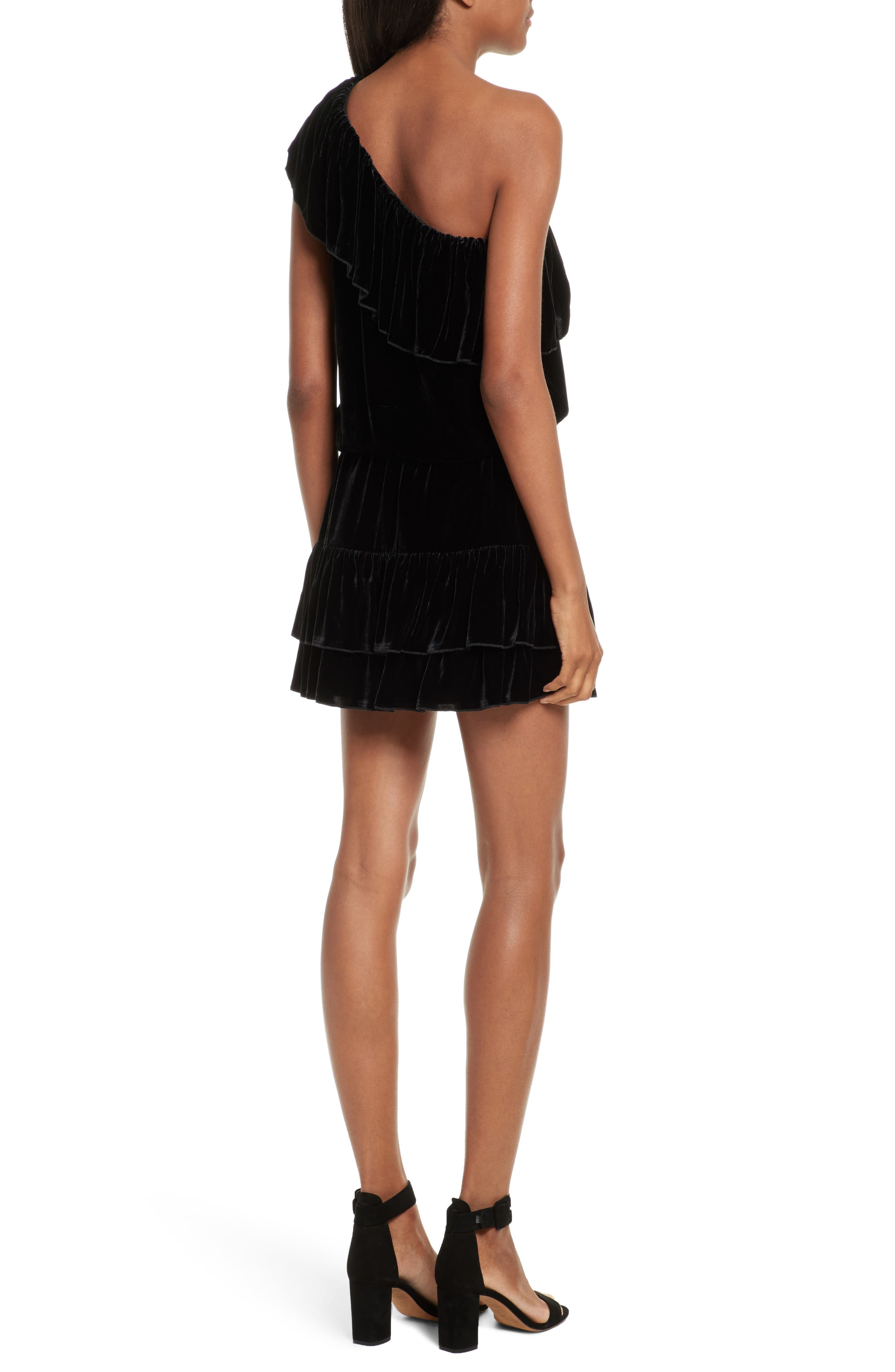Kolda B One-Shoulder Velvet Dress,                             Alternate thumbnail 2, color,                             002