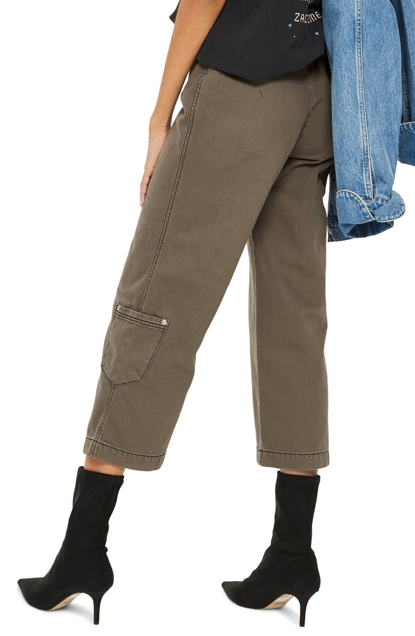 Straight Leg Crop Utility Jeans,                             Alternate thumbnail 2, color,                             OLIVE