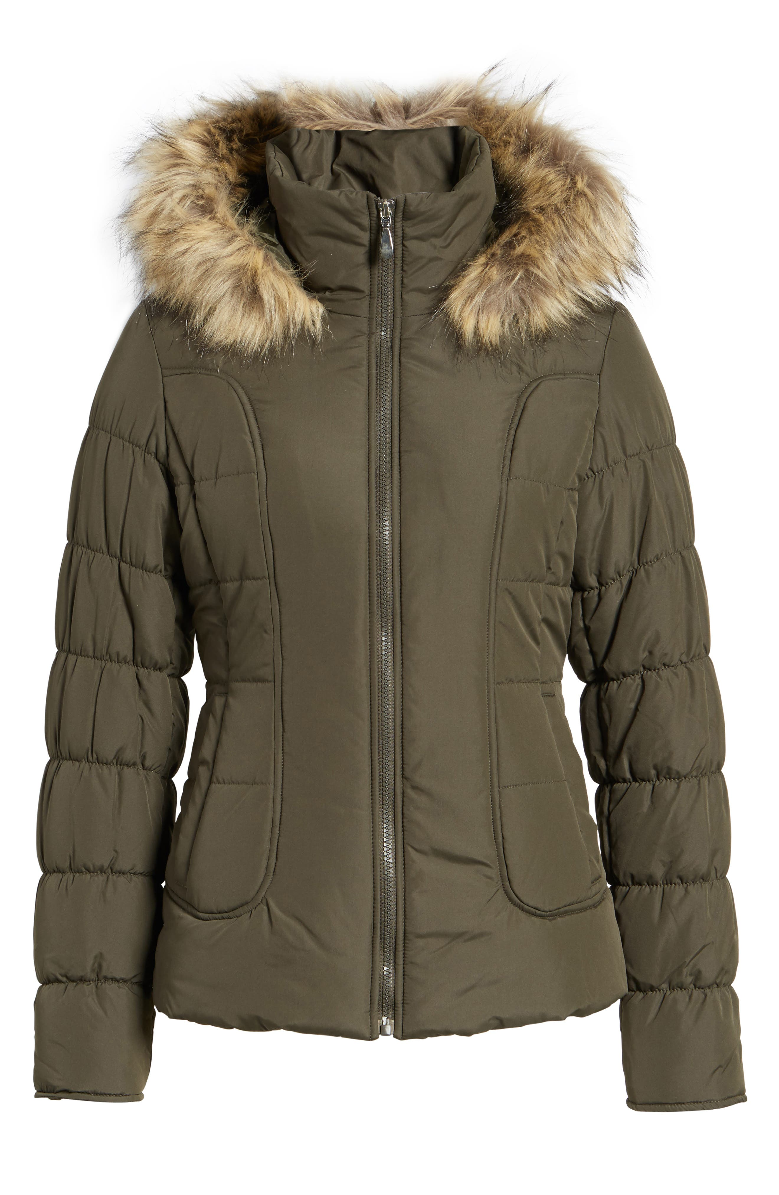 Quilted Jacket with Faux Fur Collar,                             Alternate thumbnail 10, color,