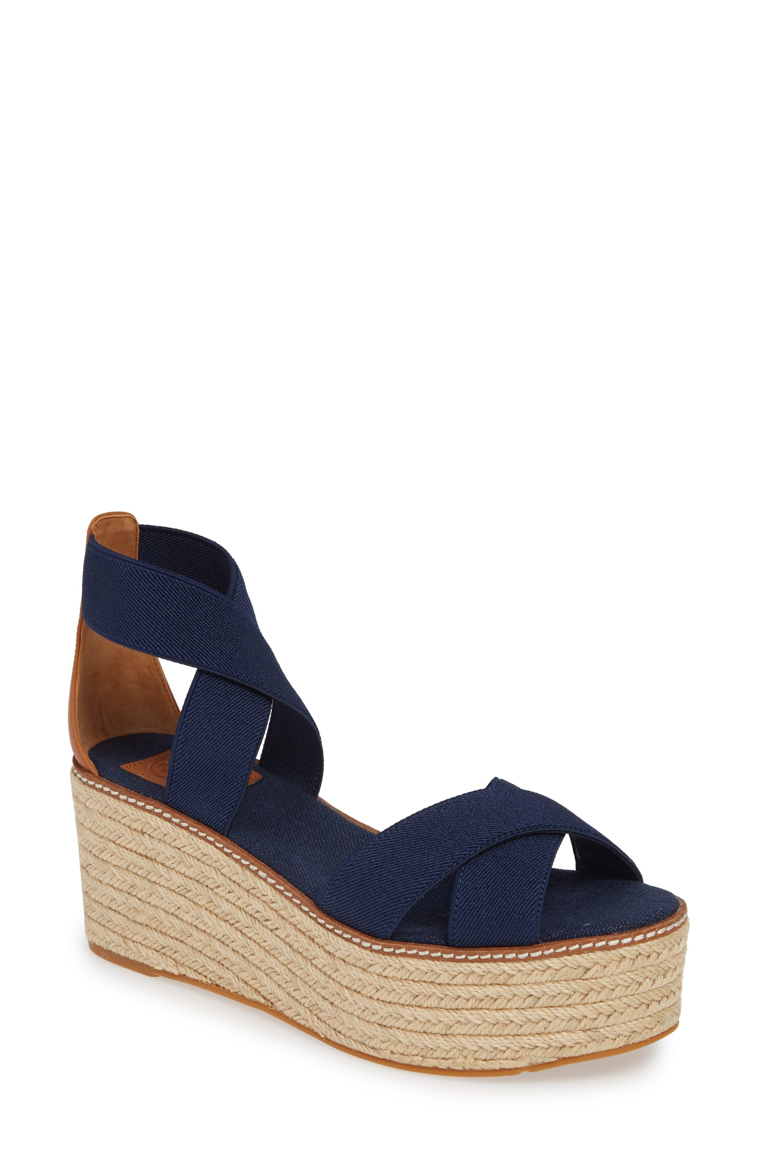 Tory Burch Frieda Espadrille Platform Sandal, Blue