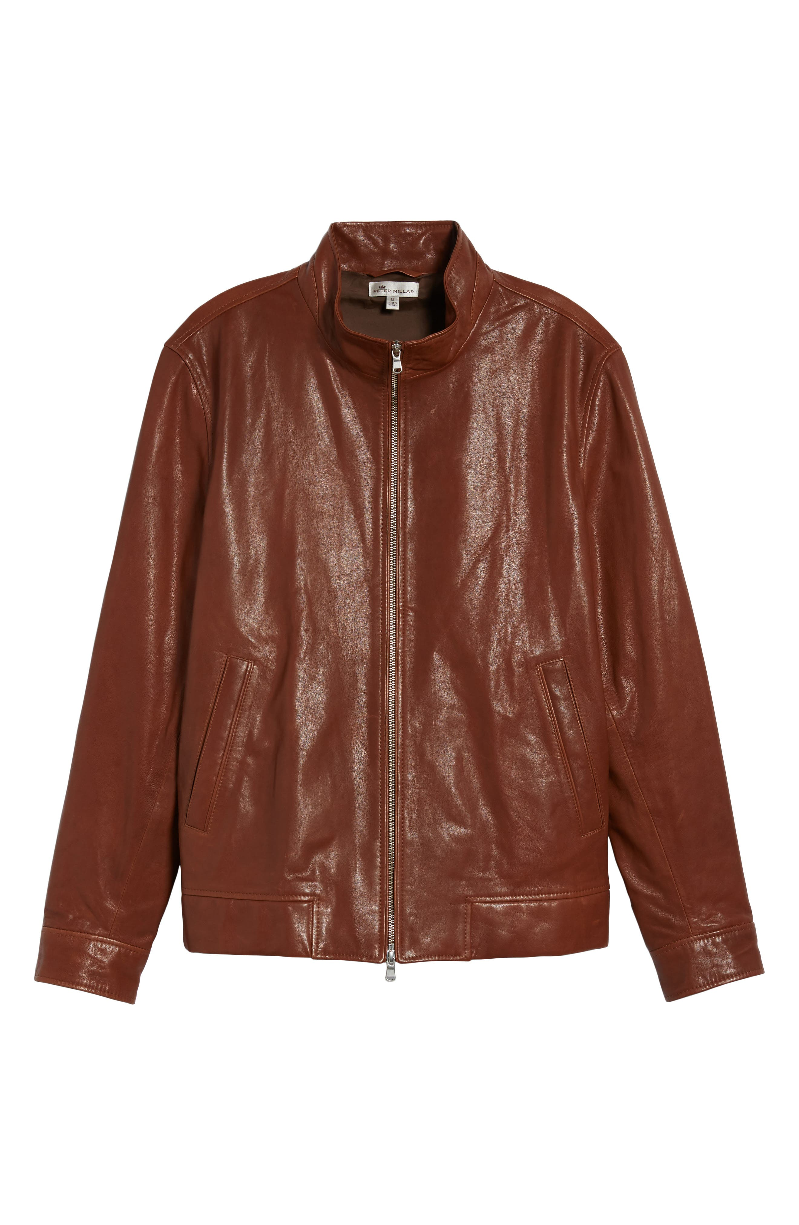 Classic Leather Bomber Jacket,                             Alternate thumbnail 5, color,
