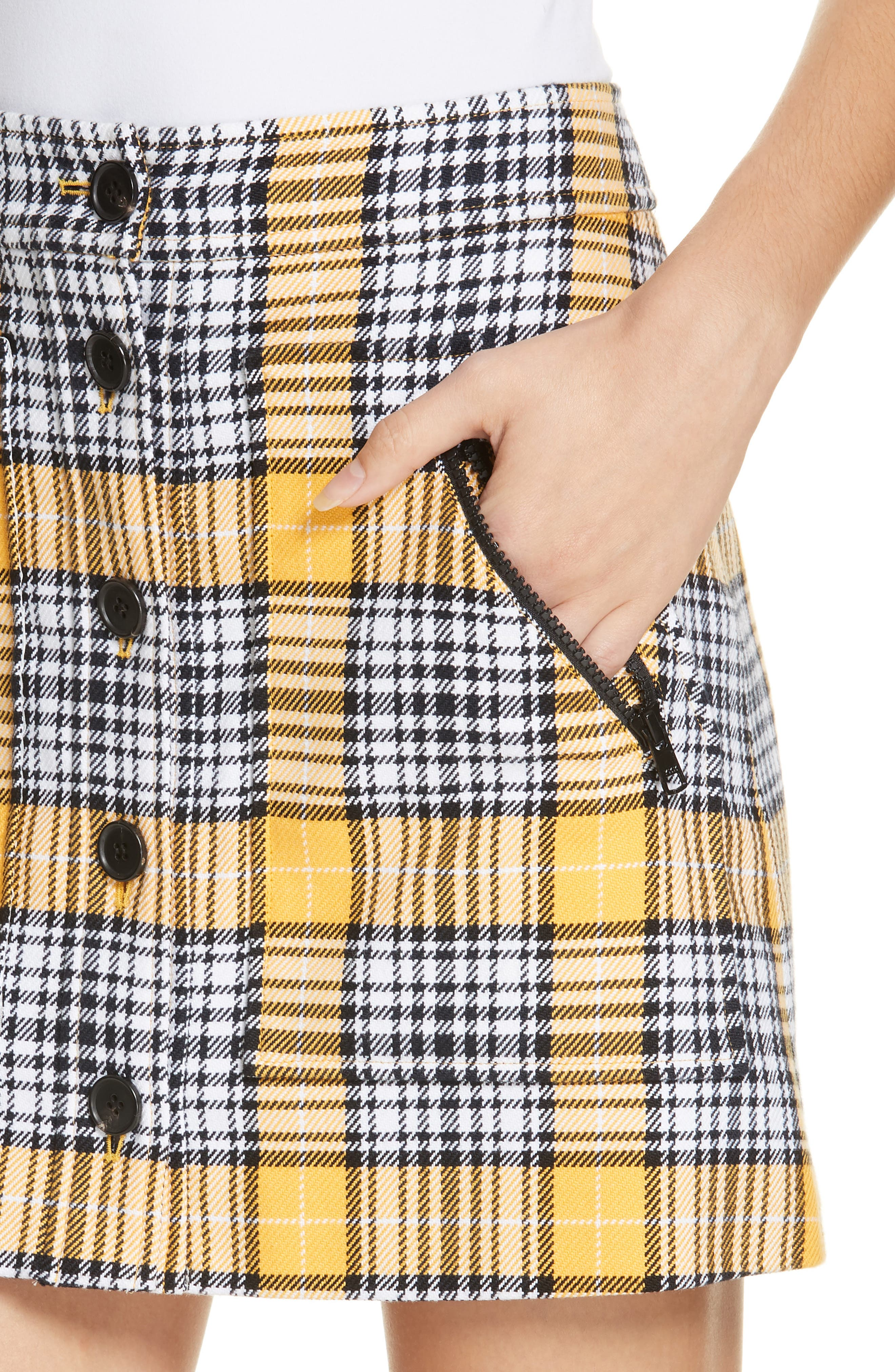 Monroe Plaid Miniskirt,                             Alternate thumbnail 4, color,                             YELLOW