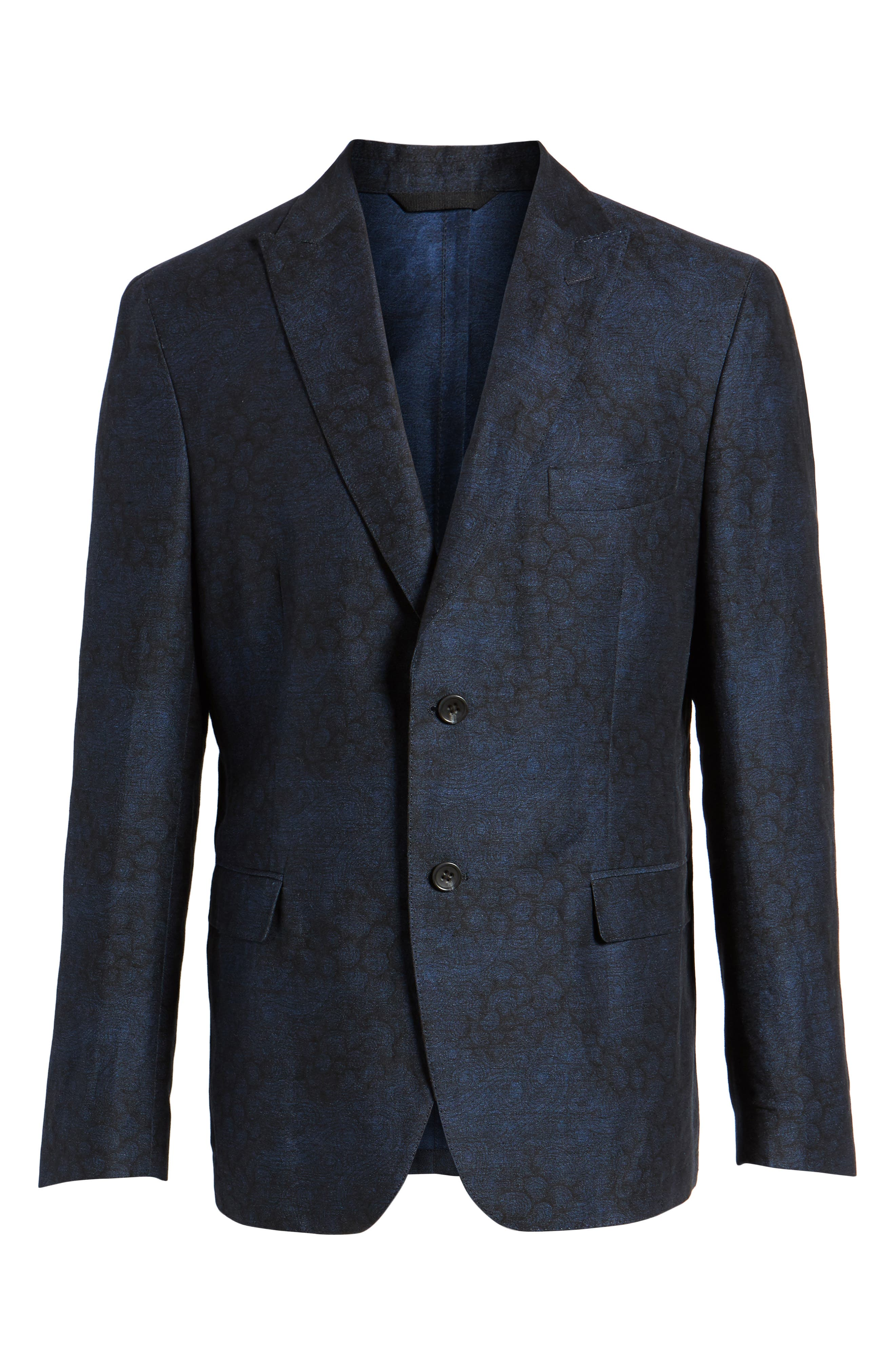 Slim Fit Patterned Linen Blend Sport Coat,                             Alternate thumbnail 5, color,