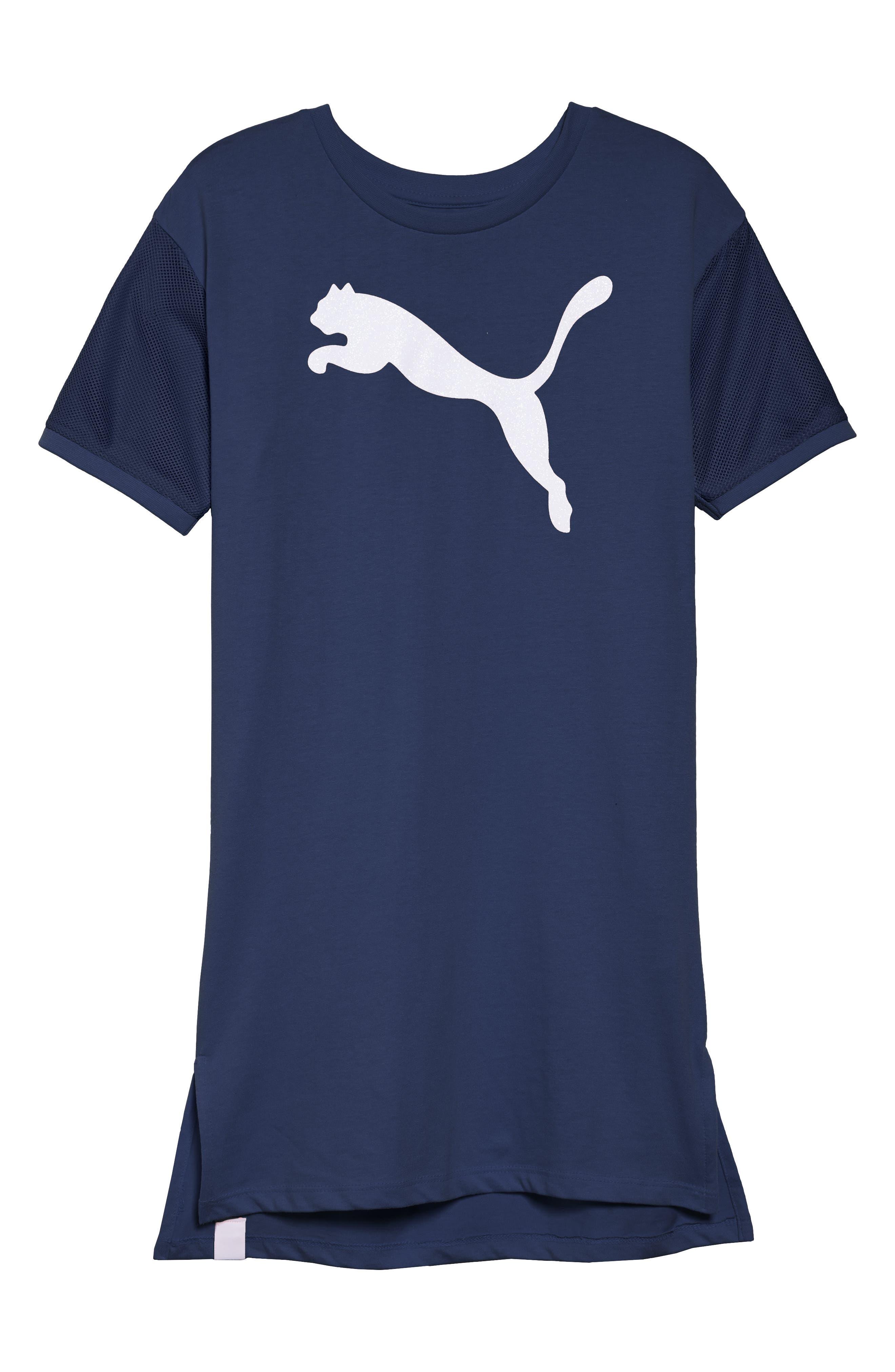 PUMA Logo T-Shirt Dress, Main, color, 404