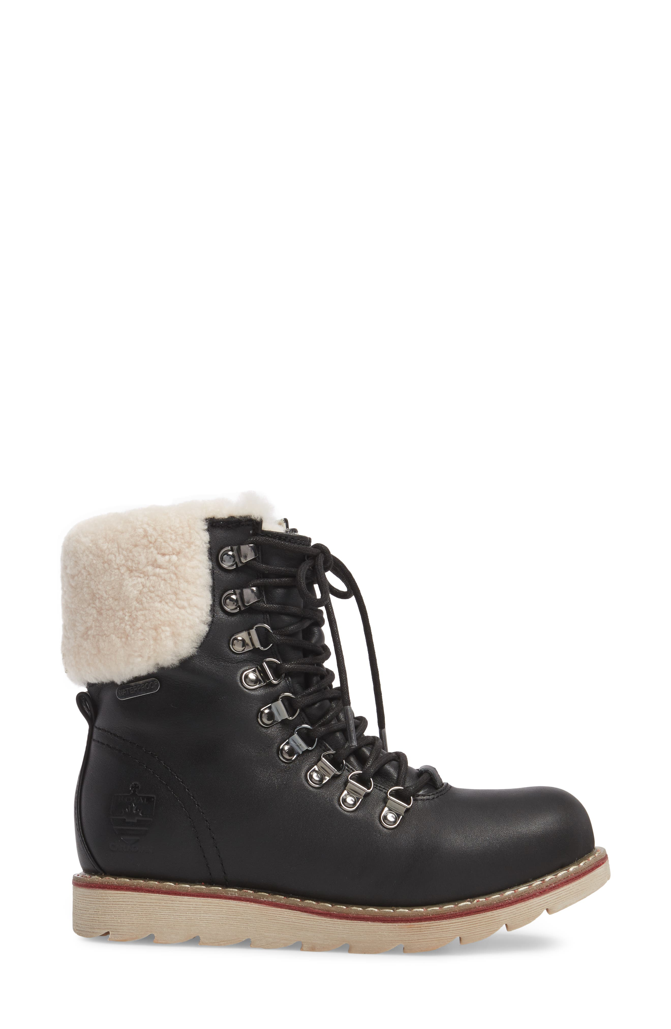 Lethbridge Waterproof Snow Boot with Genuine Shearling Cuff,                             Alternate thumbnail 3, color,                             BLACK LEATHER