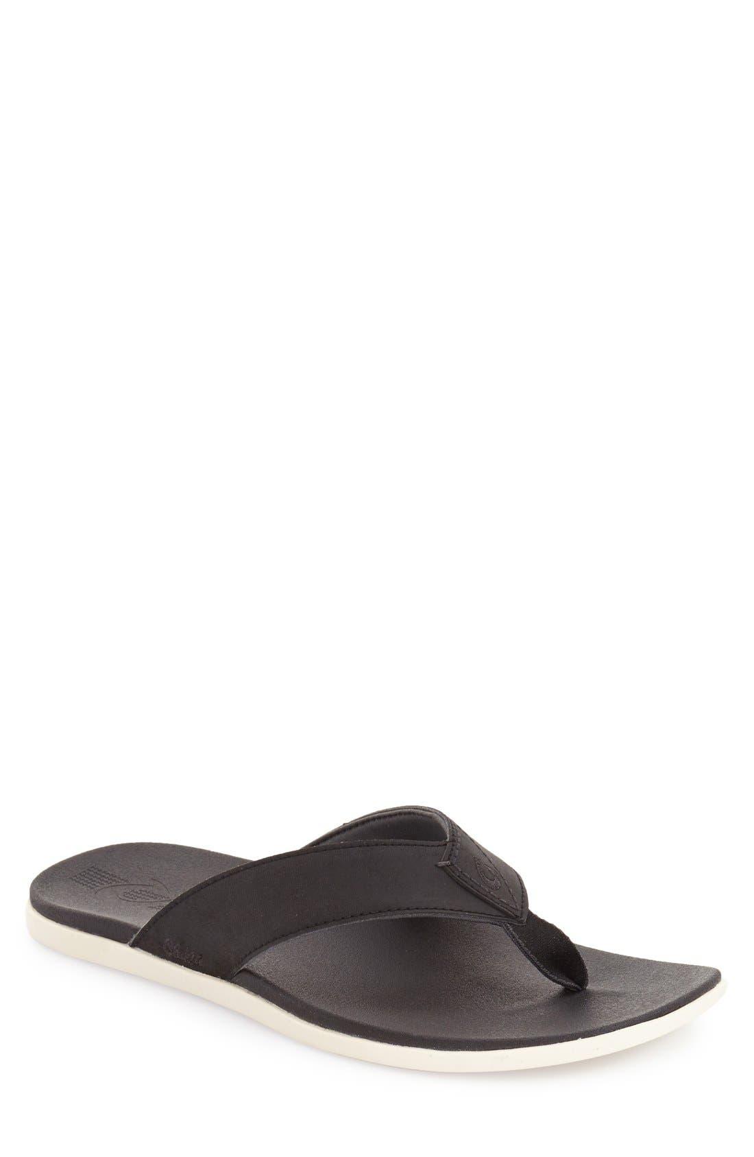 'Holona' Flip Flop,                         Main,                         color, BLACK/ BLACK