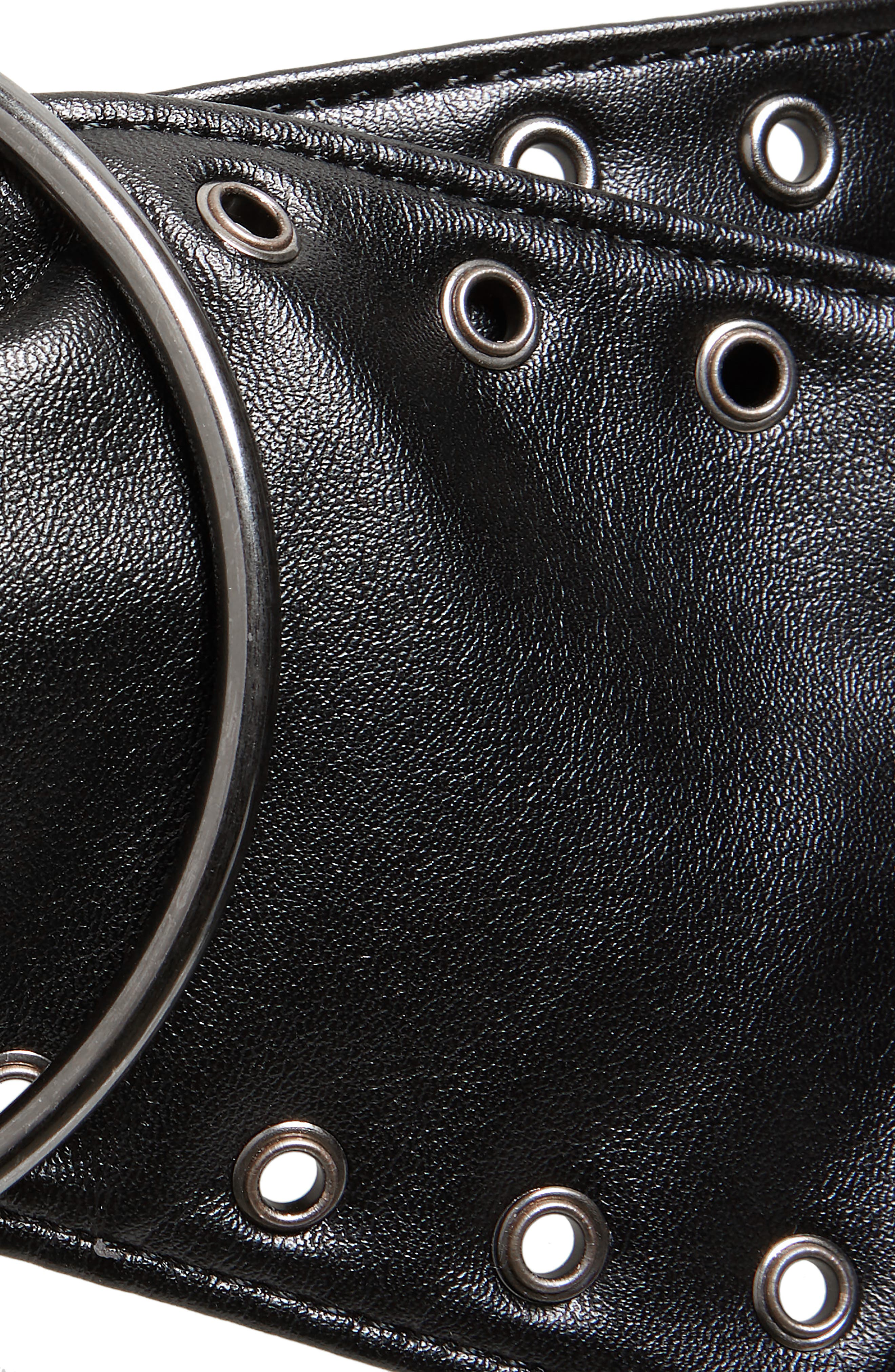Double Ring Wide Faux Leather Belt,                             Alternate thumbnail 3, color,                             BLACK
