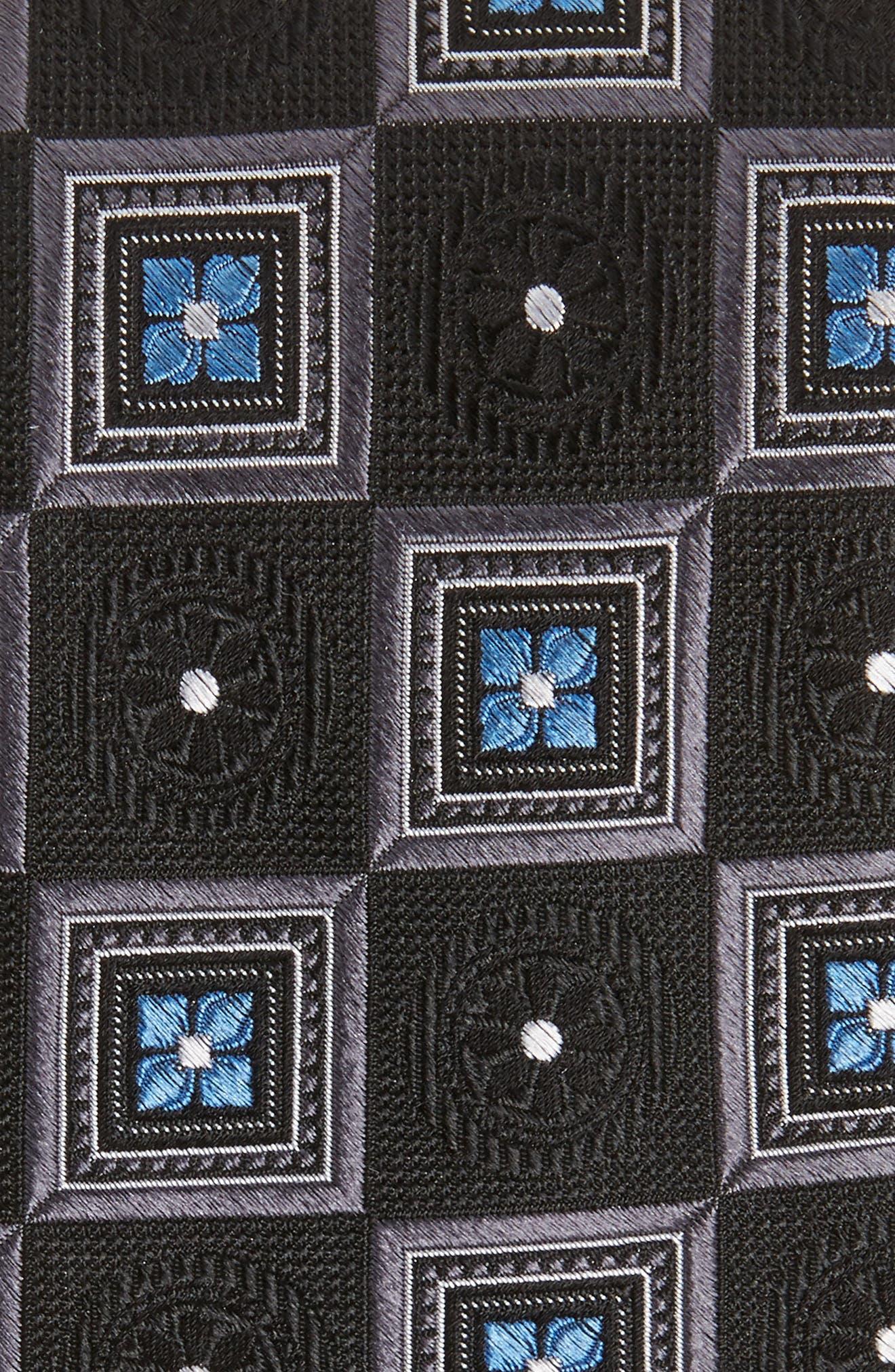 Medallion Squares Silk Tie,                             Alternate thumbnail 2, color,                             001