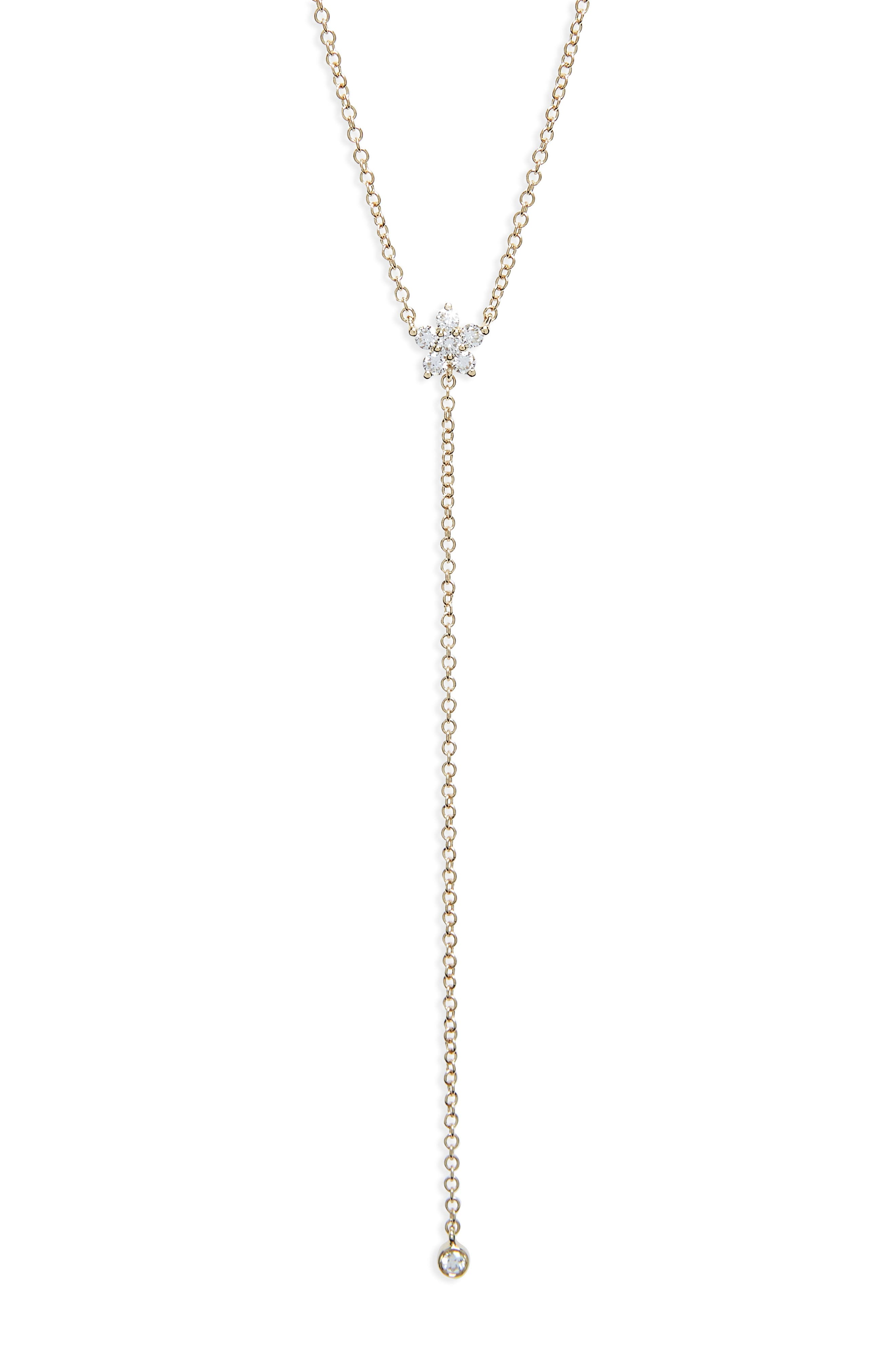 EF COLLECTION Diamond Flower Lariat Necklace, Main, color, YELLOW GOLD