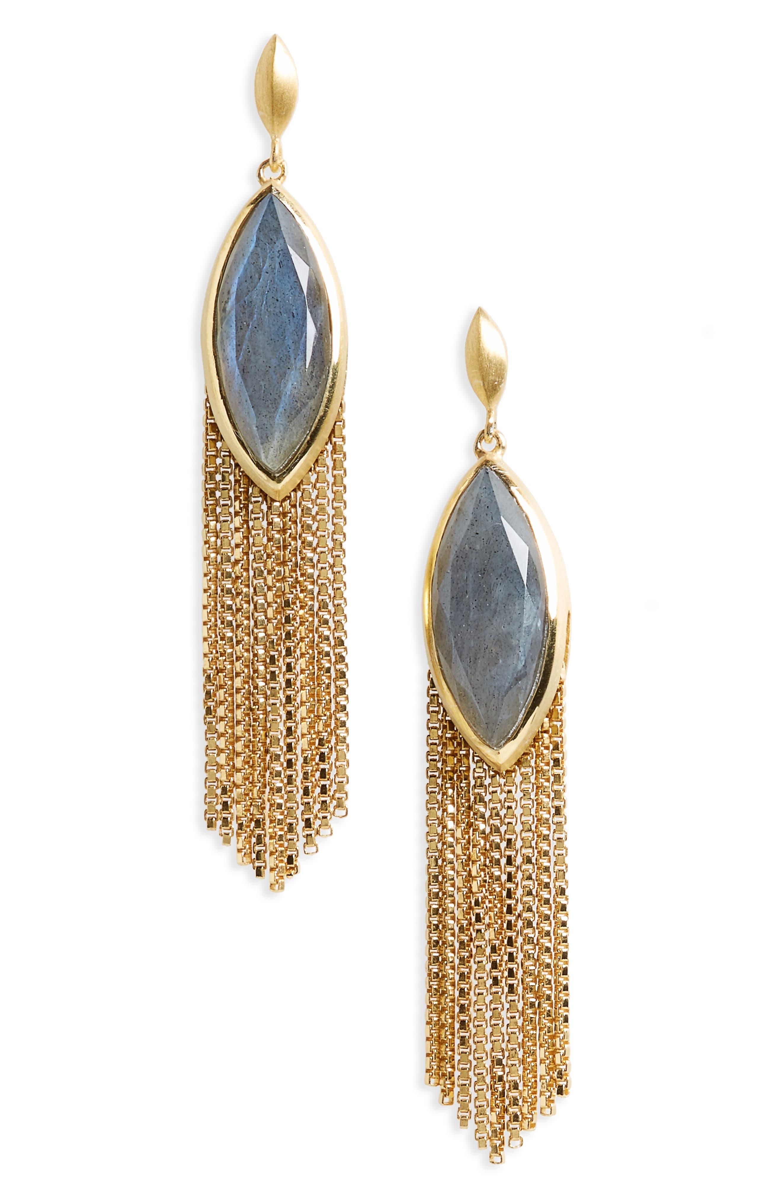 Ornate Semiprecious Stone Fringe Earrings,                             Main thumbnail 1, color,                             020