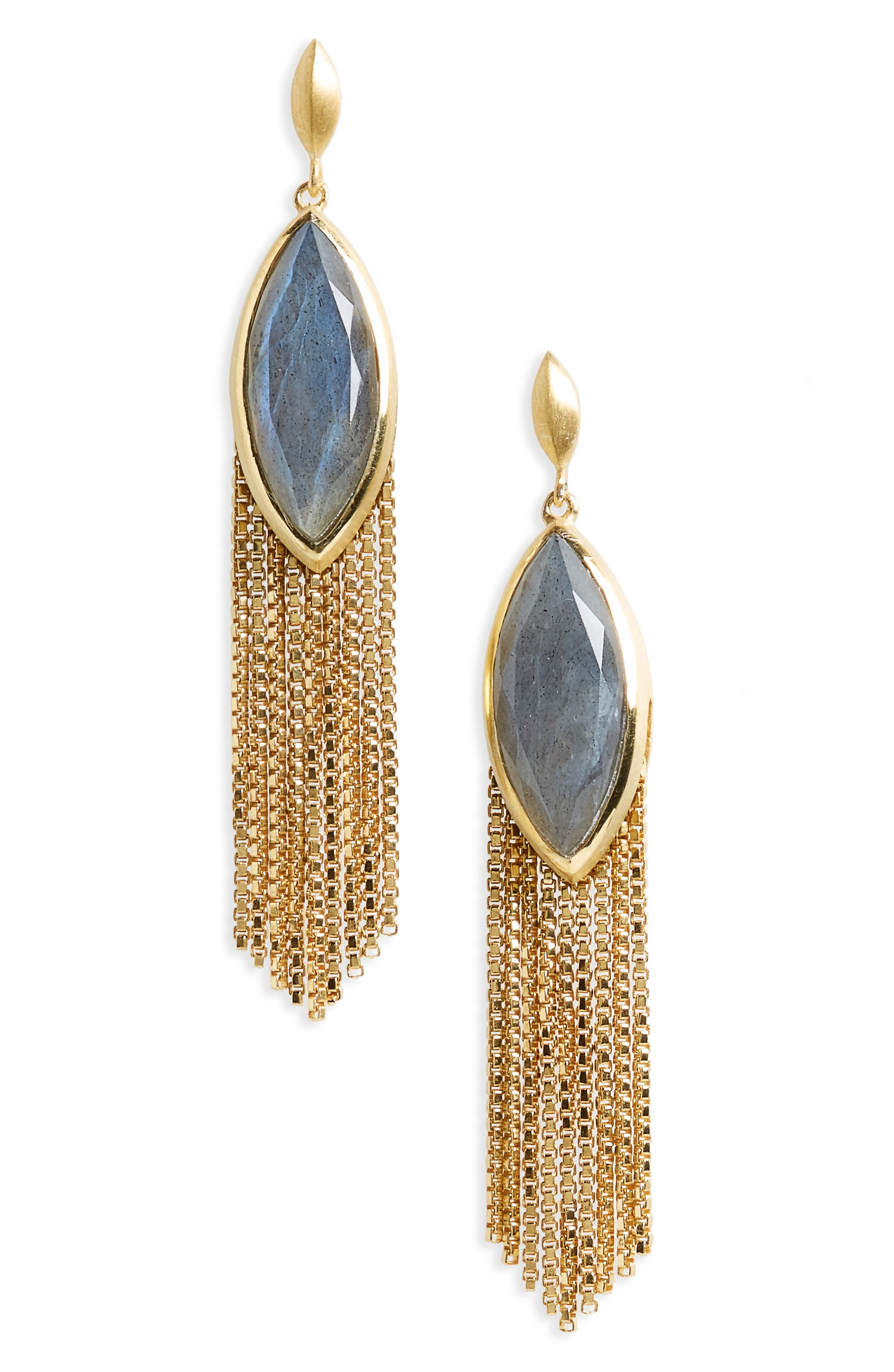 Ornate Semiprecious Stone Fringe Earrings,                         Main,                         color, 020
