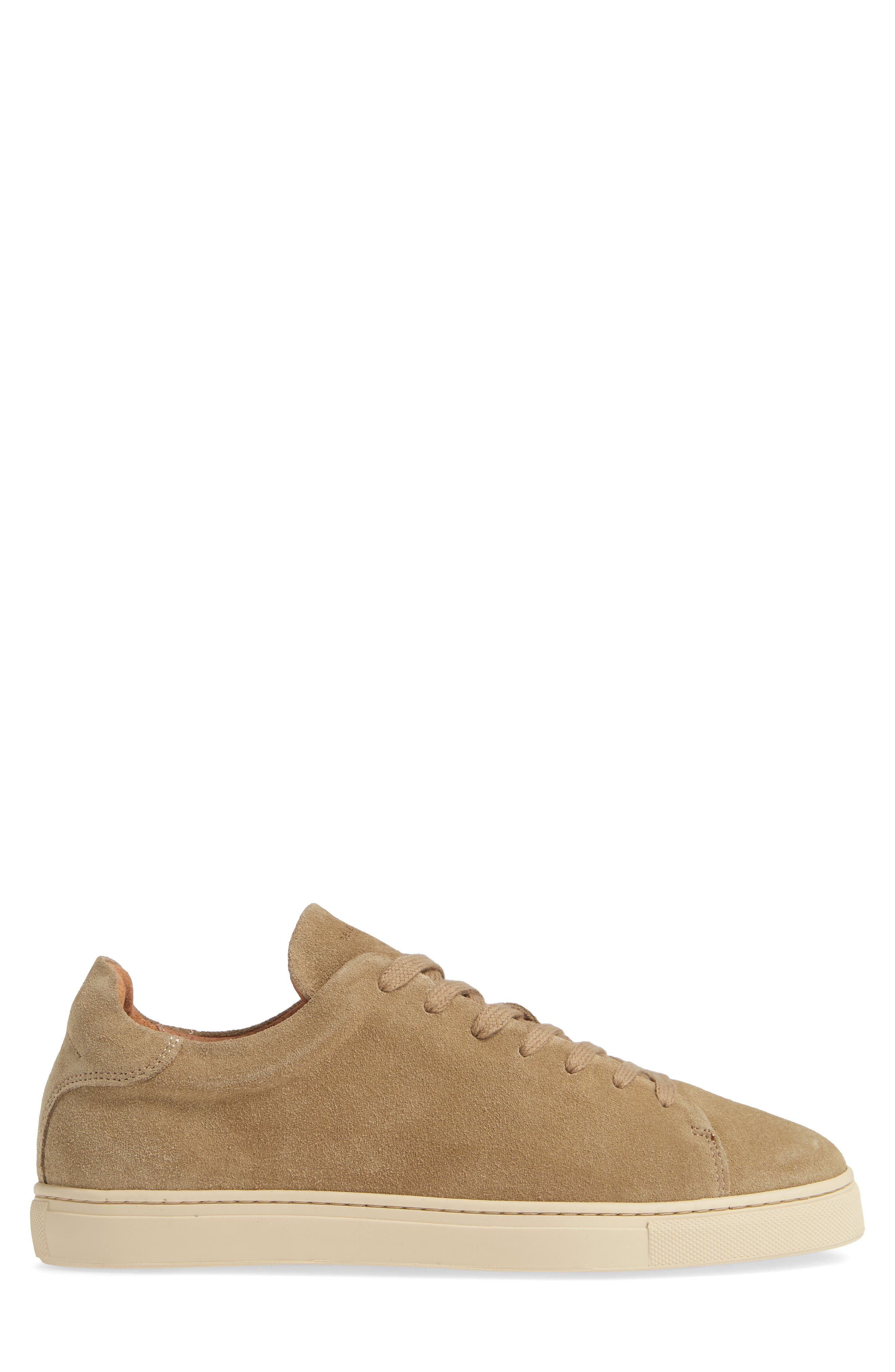 Selected Home David Low Top Sneaker,                             Alternate thumbnail 3, color,                             SAND SUEDE