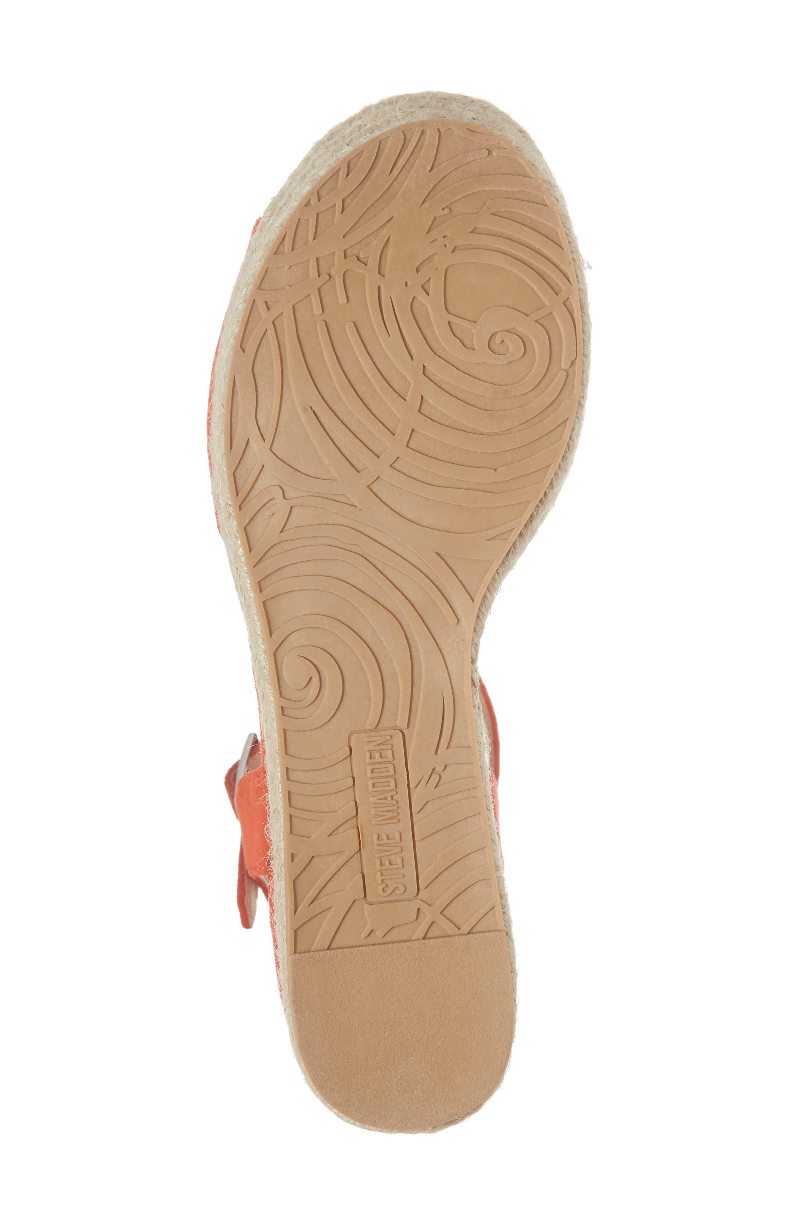 Kianna Espadrille Wedge Sandal,                             Alternate thumbnail 6, color,                             CORAL SUEDE