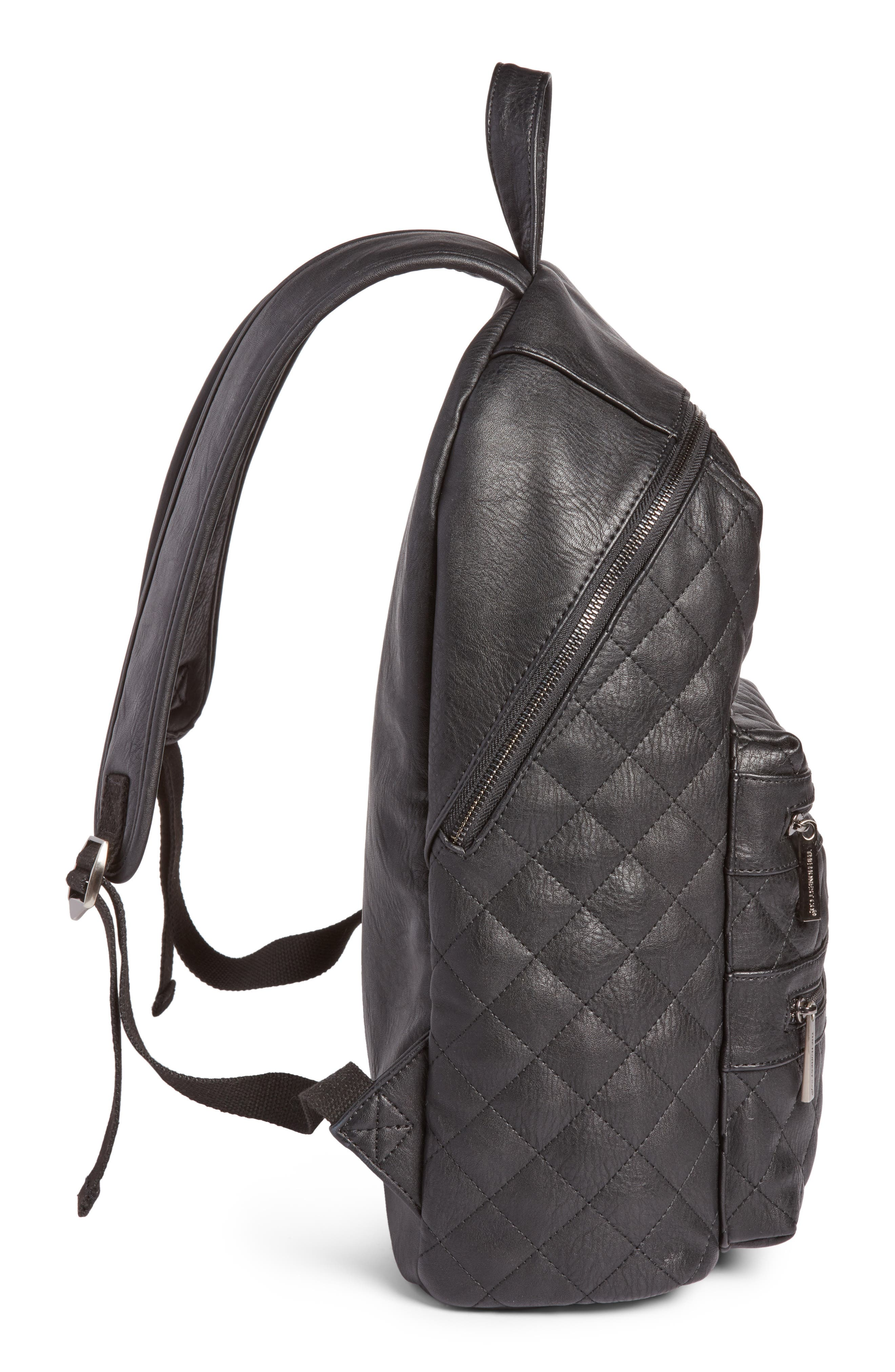 City Quilted Faux Leather Diaper Backpack,                             Alternate thumbnail 5, color,                             001