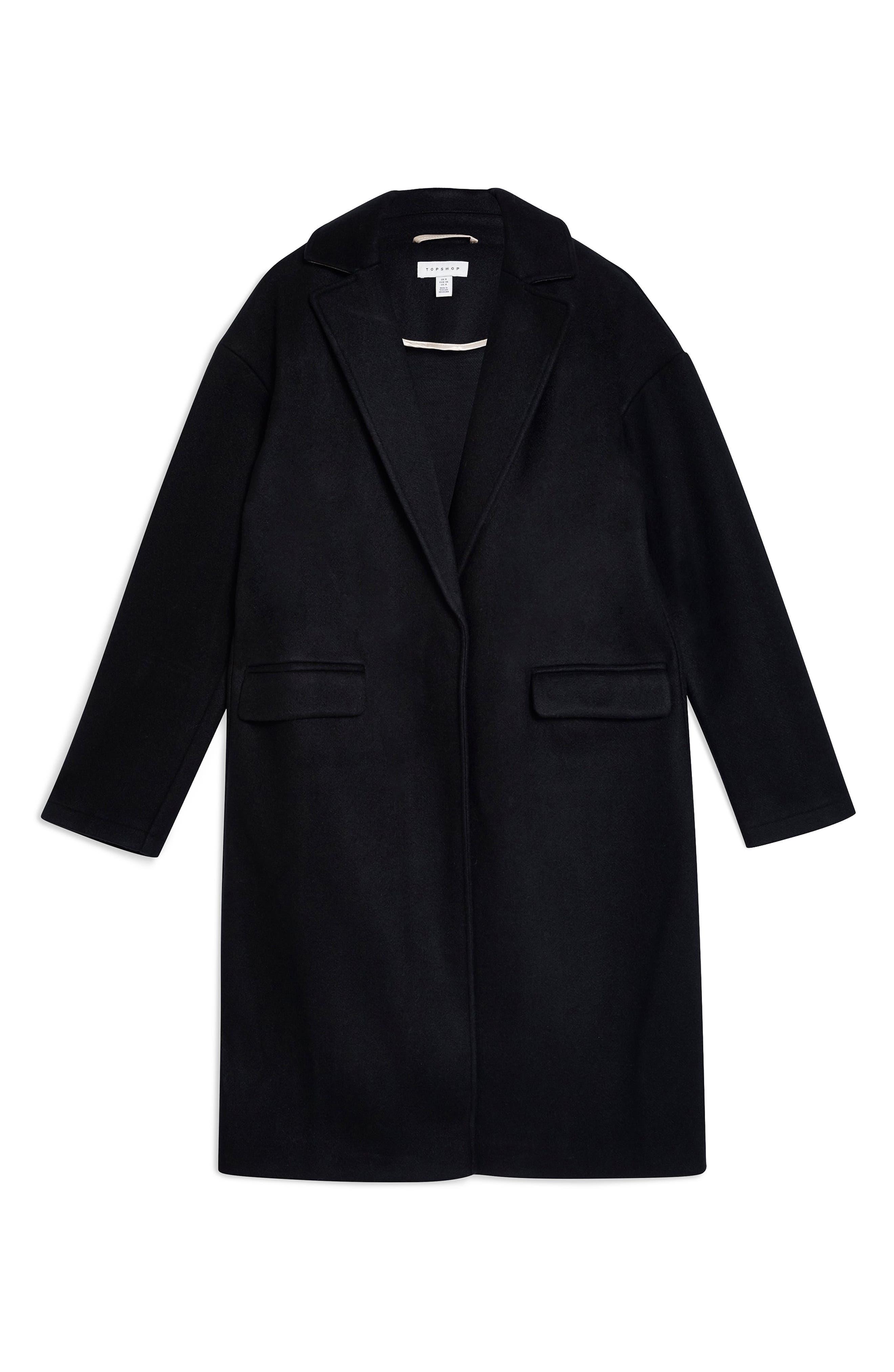 Lily Knit Back Midi Coat,                             Alternate thumbnail 4, color,                             BLACK