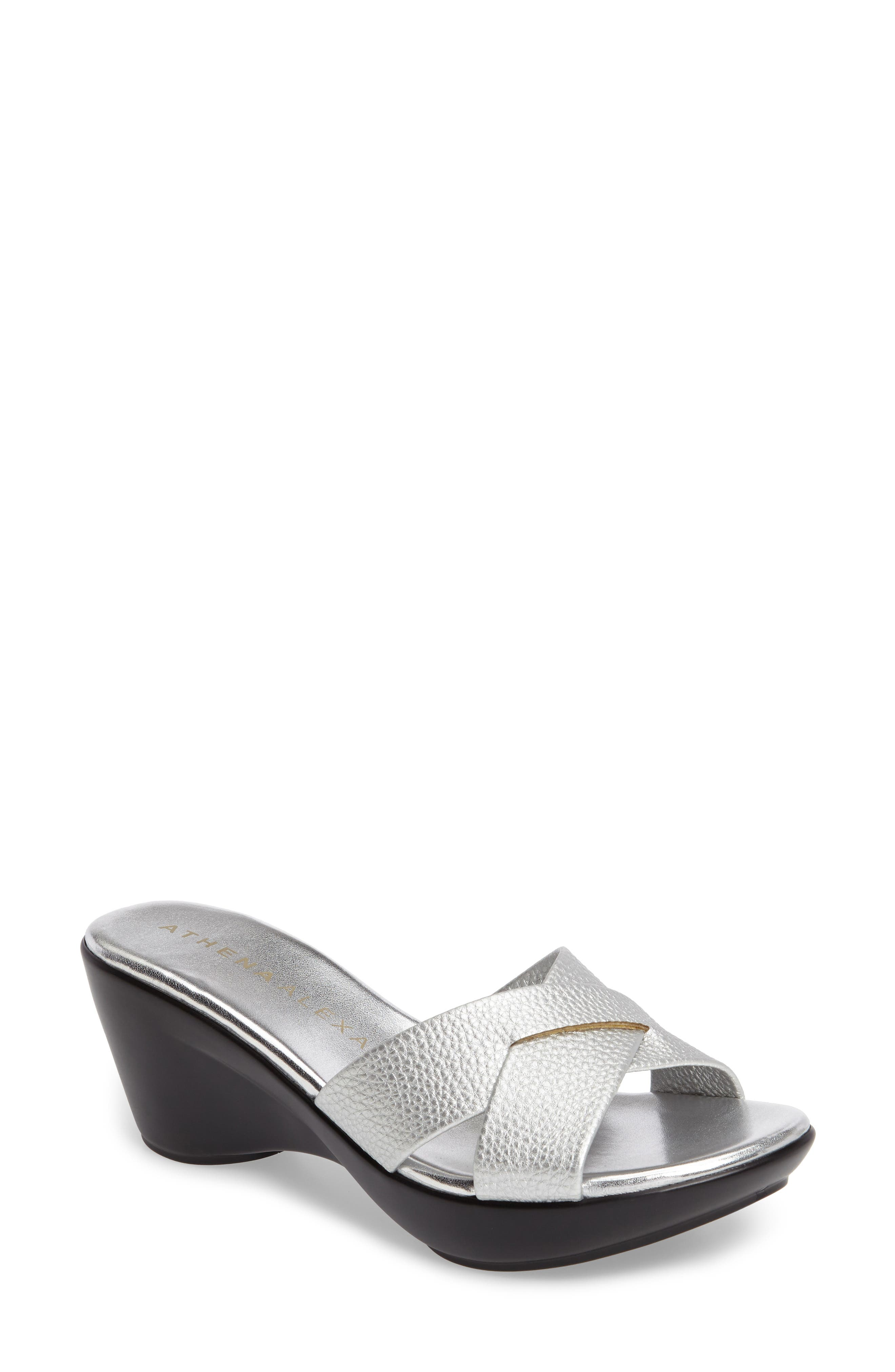 Verna Wedge Slide Sandal,                             Main thumbnail 1, color,                             SILVER FAUX LEATHER