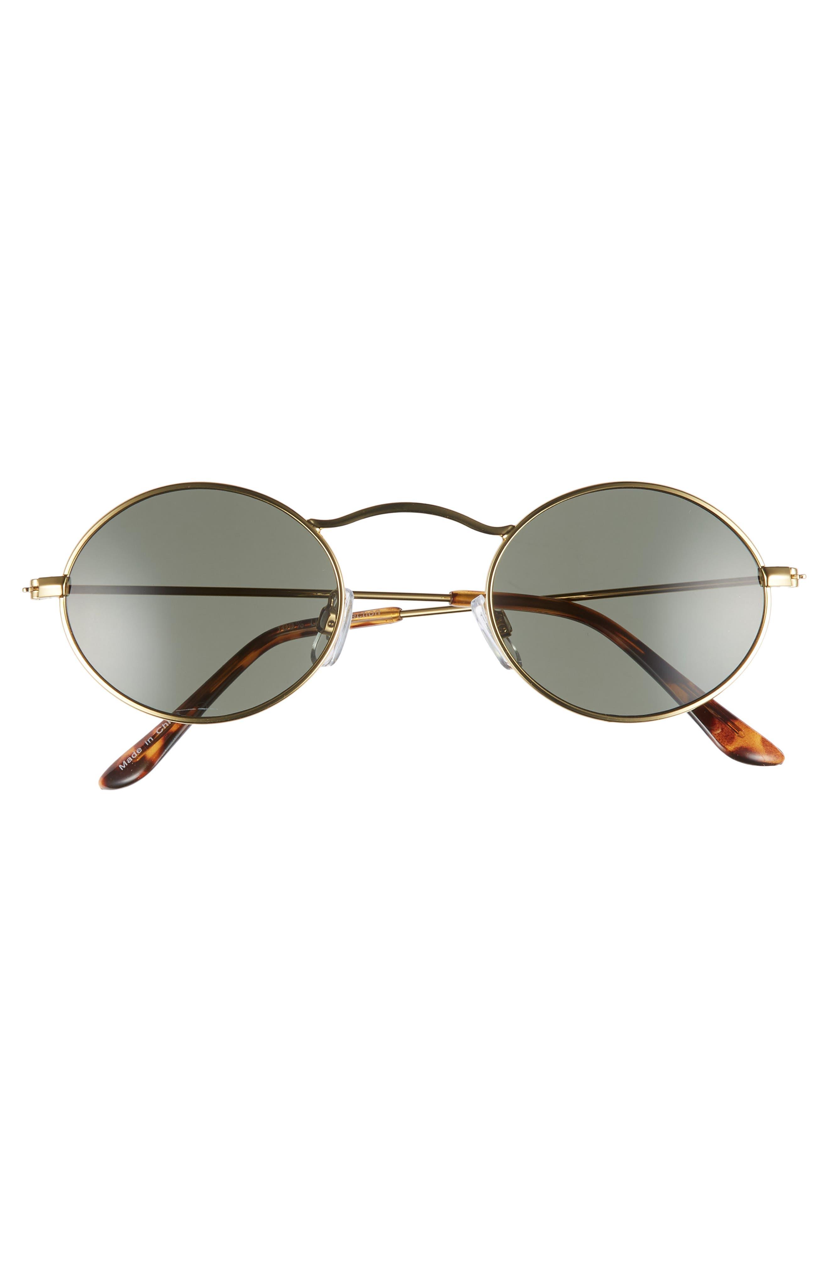 48mm Small Oval Sunglasses,                             Alternate thumbnail 3, color,                             GOLD/ BLACK