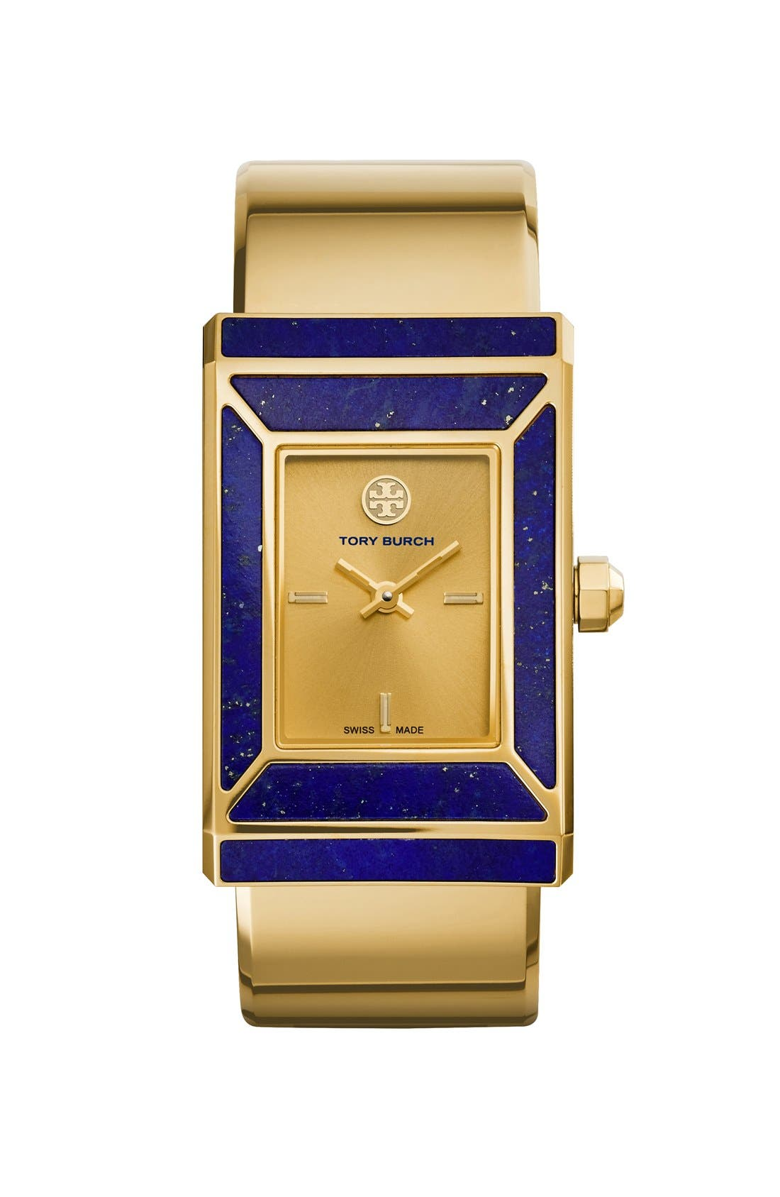 TORY BURCH,                             'Robinson' Rectangle Case Bangle Watch, 25mm x 38mm,                             Alternate thumbnail 2, color,                             710