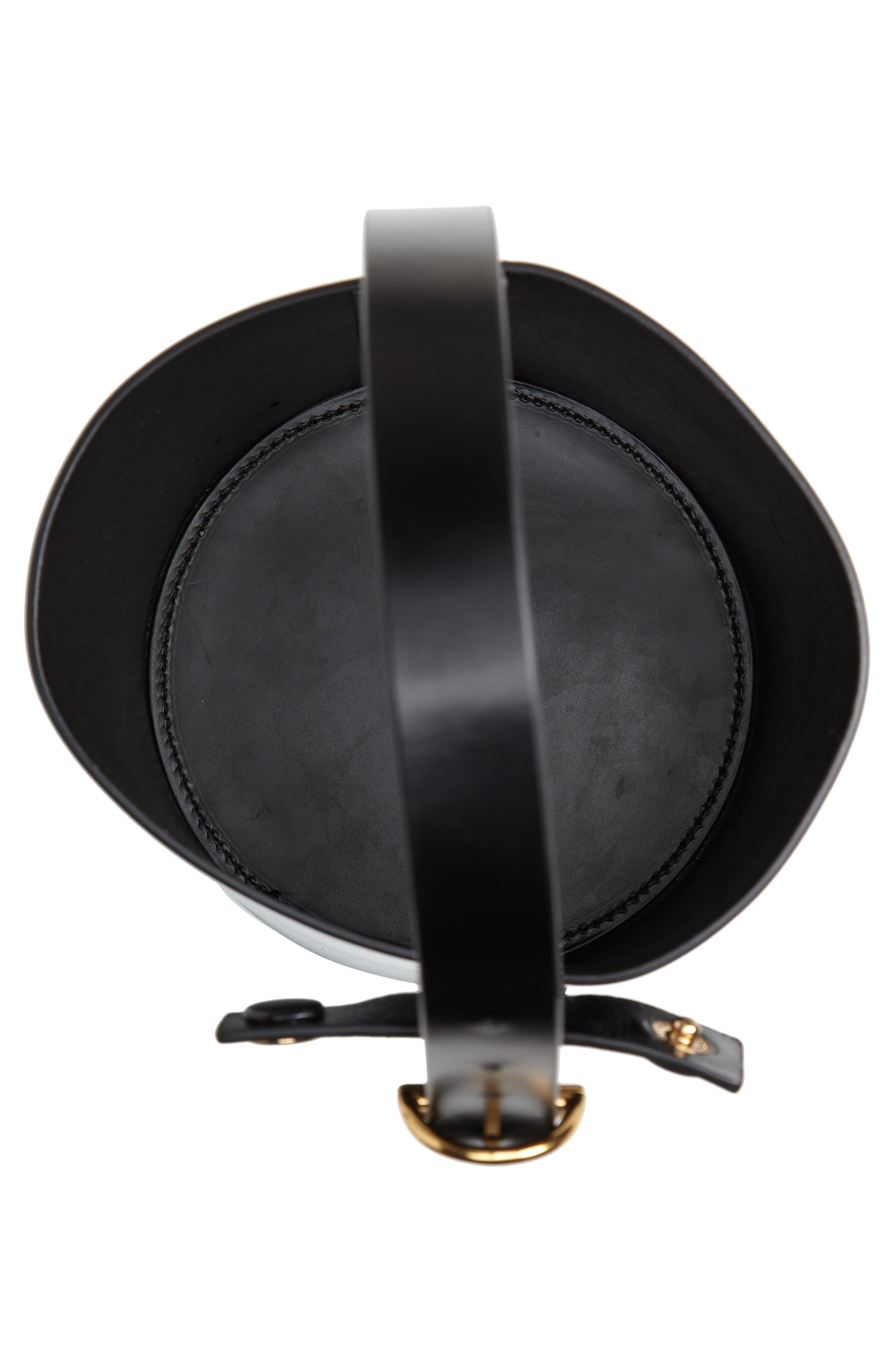 Small Leather Bucket Bag,                             Alternate thumbnail 4, color,                             BLACK