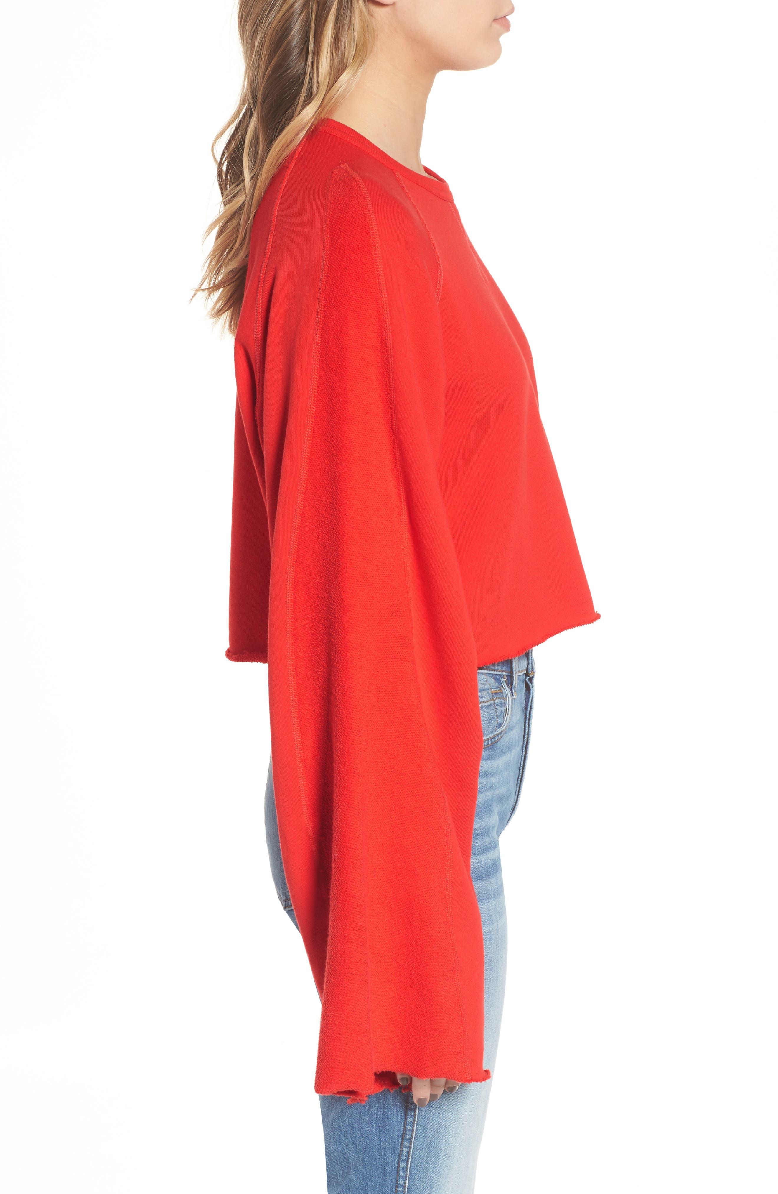 Flare Sleeve Crop Sweatshirt,                             Alternate thumbnail 3, color,