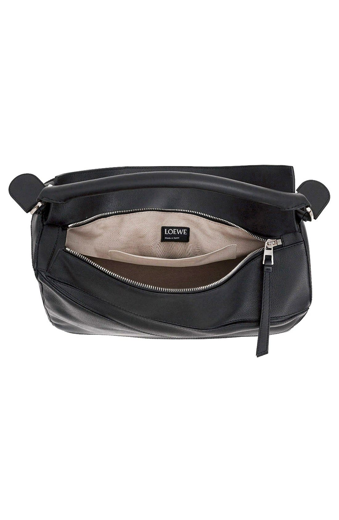 'Large Puzzle' Calfskin Leather Bag,                             Alternate thumbnail 4, color,                             001