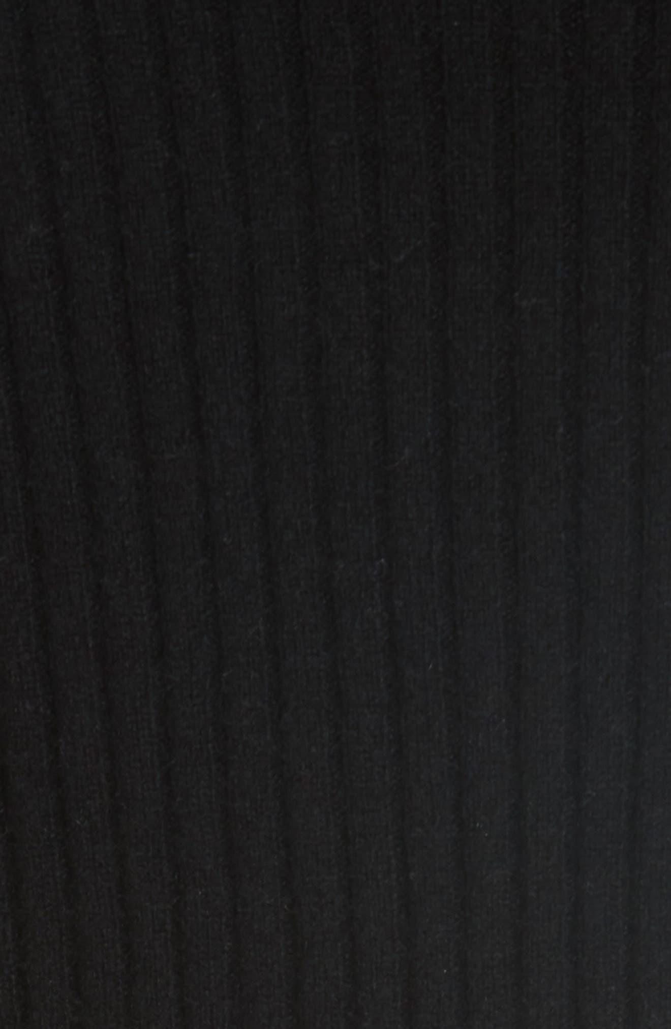 Shoulder Slit Cashmere Crewneck Sweater,                             Alternate thumbnail 5, color,                             BLACK