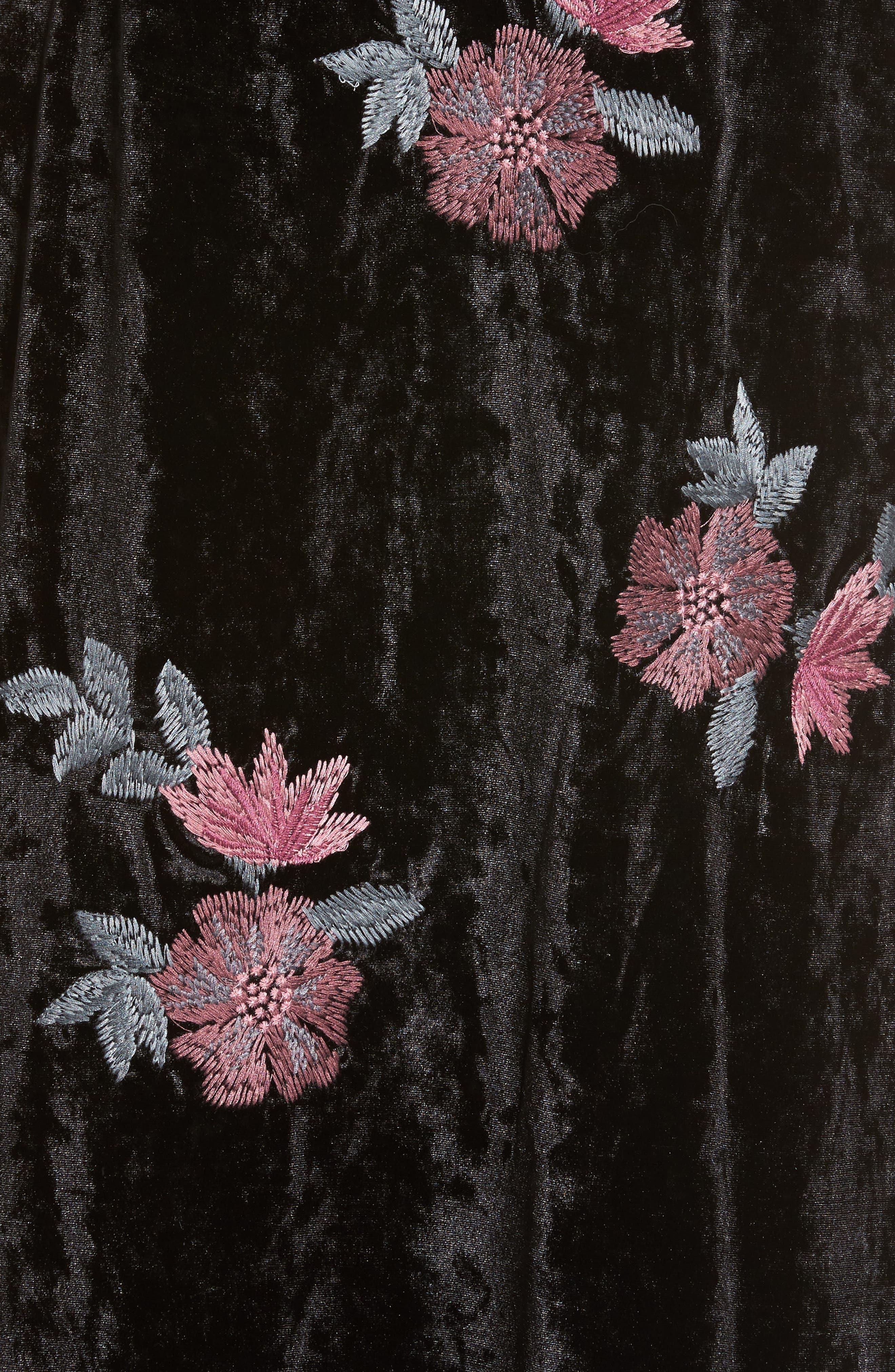 Floral Velvet Long Jacket,                             Alternate thumbnail 6, color,                             001