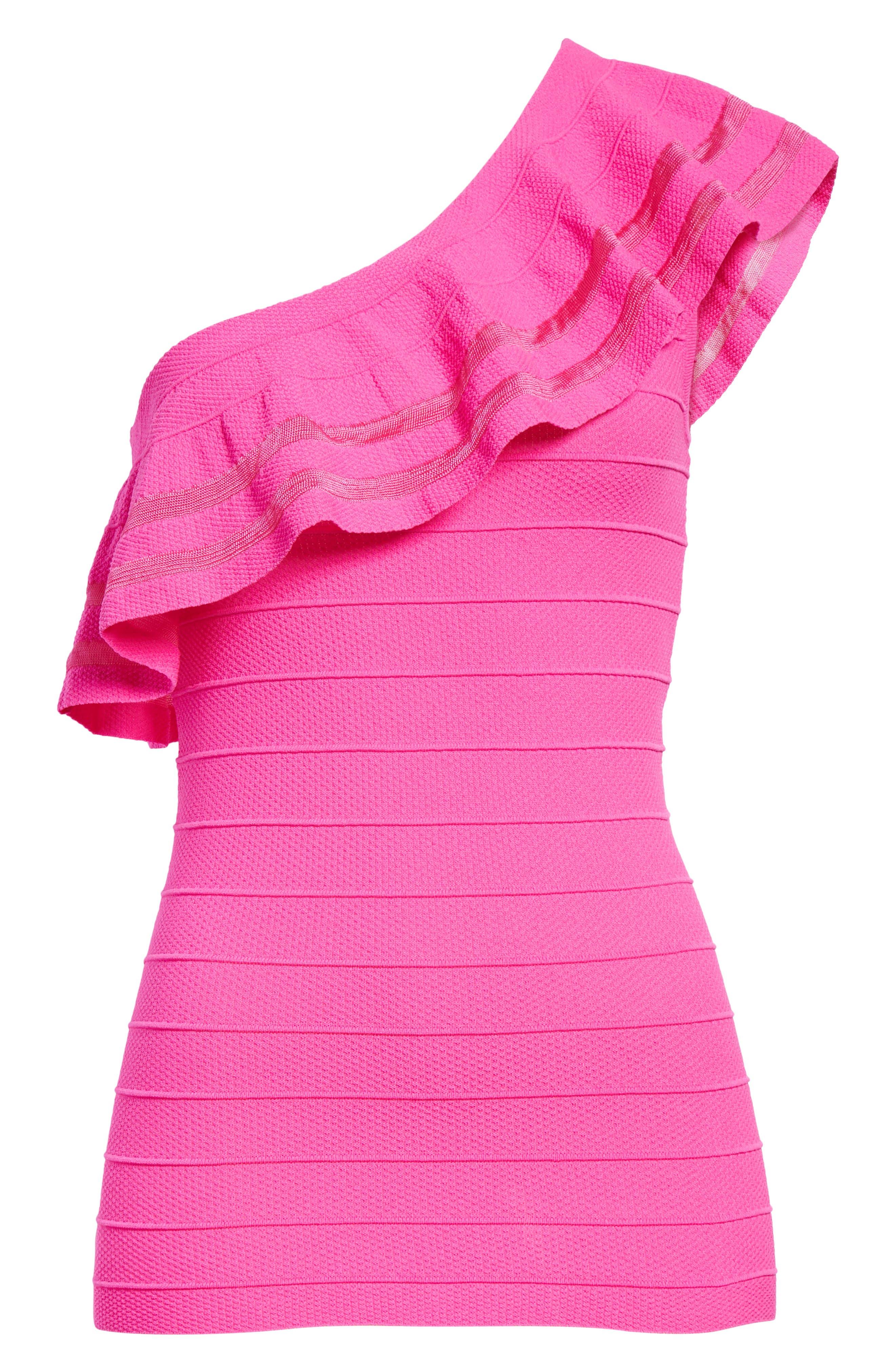 Reigann One-Shoulder Ruffle Knit Top,                             Alternate thumbnail 6, color,                             671