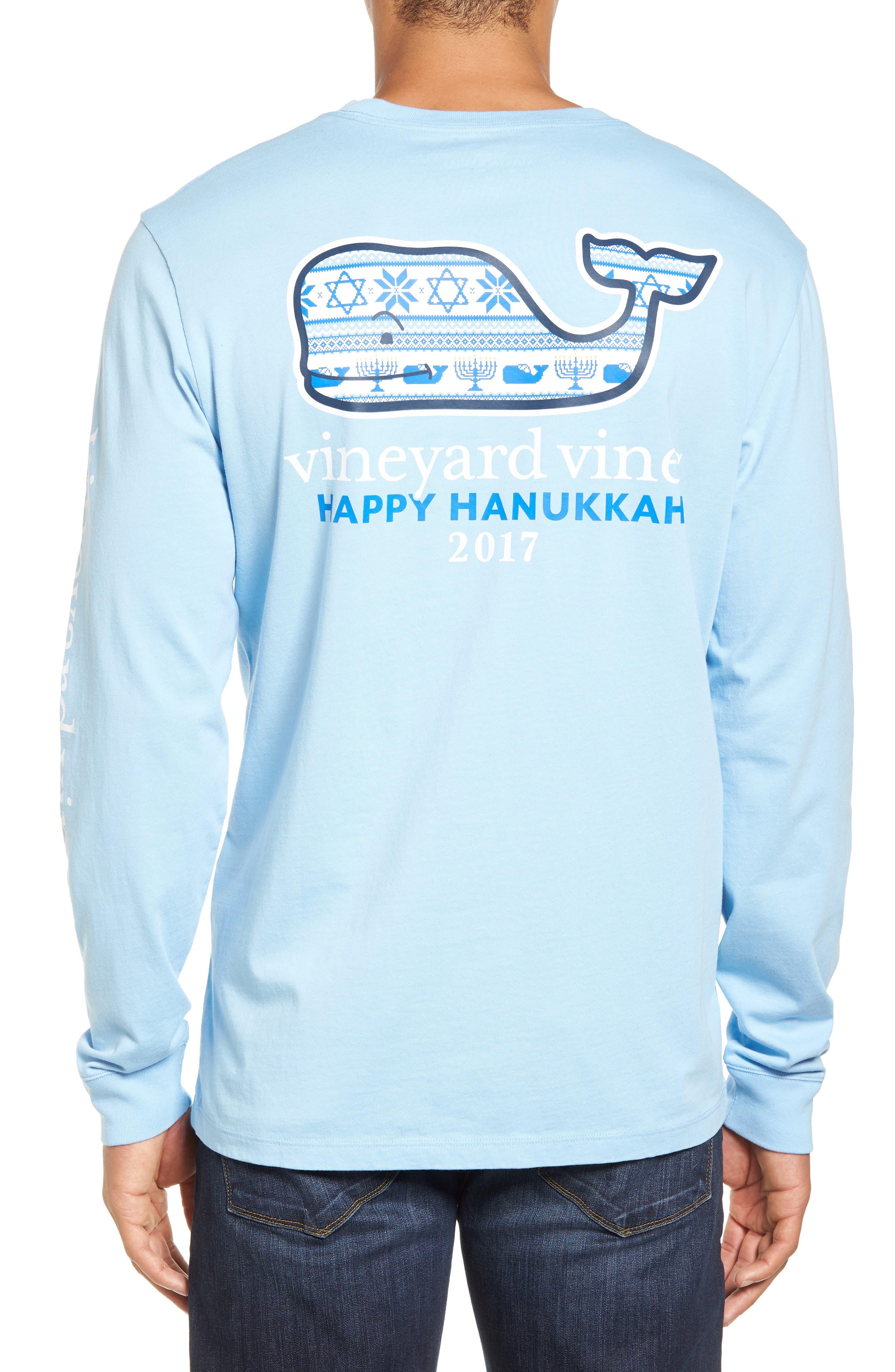 Hanukkah Fair Isle Whale Fill Pocket T-Shirt,                             Alternate thumbnail 2, color,                             456