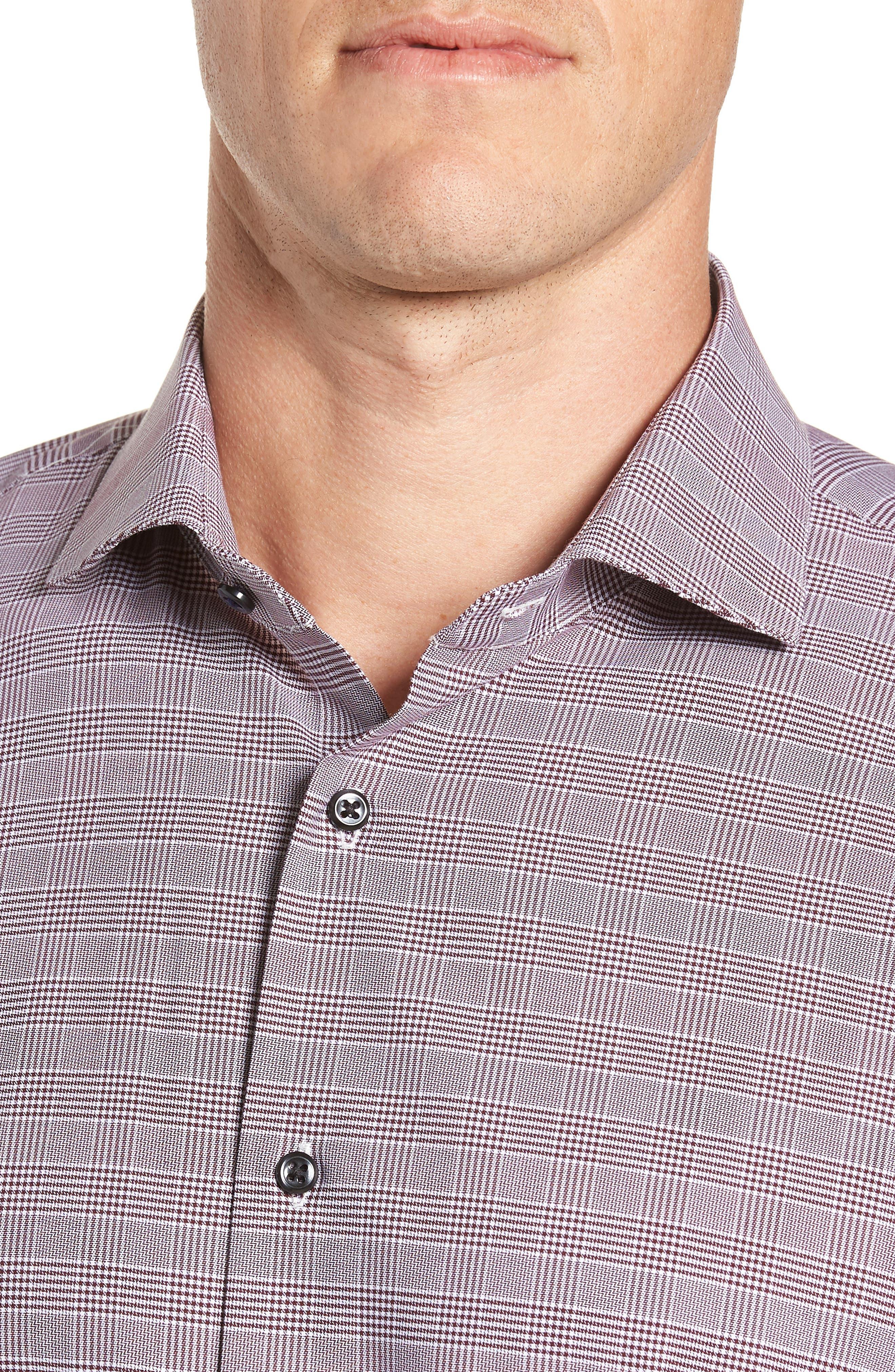 Tech-Smart Trim Fit Stretch Plaid Dress Shirt,                             Alternate thumbnail 8, color,