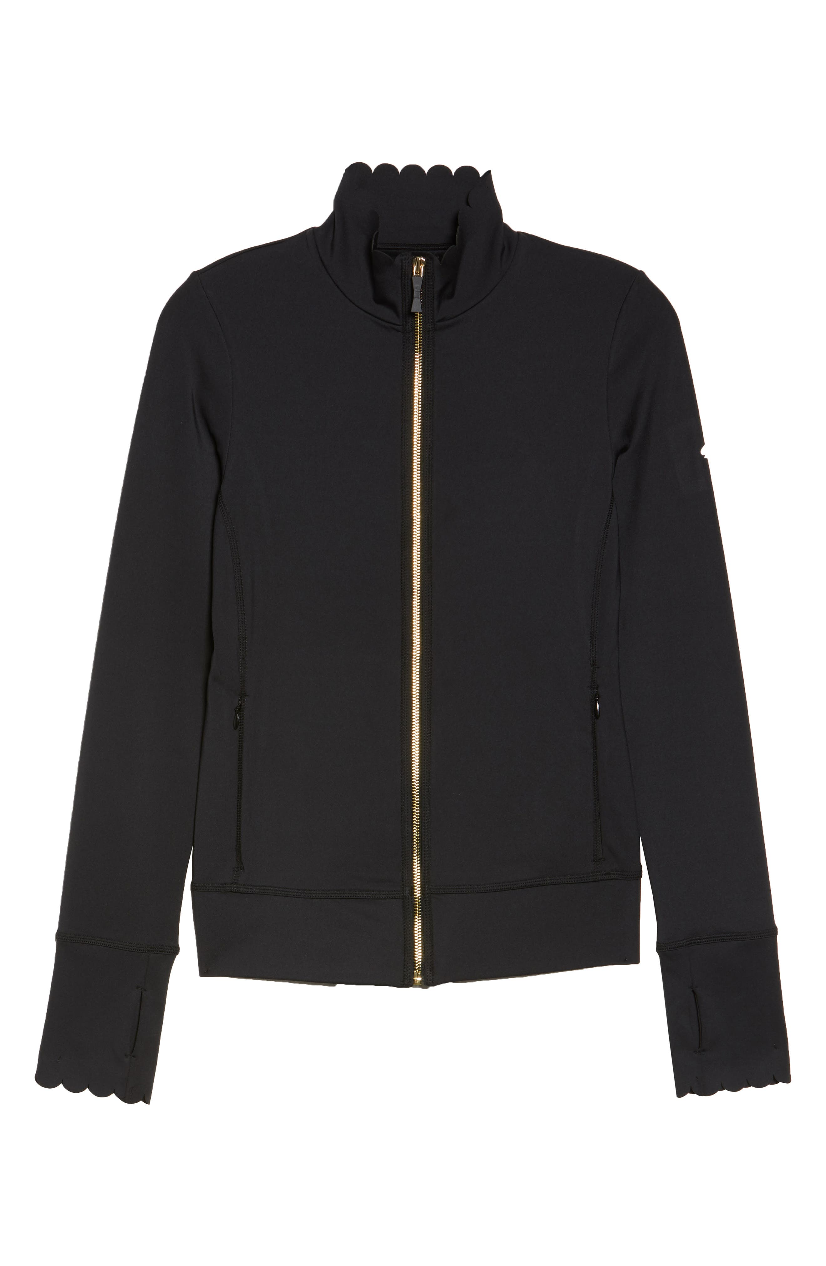 scallop jacket,                             Alternate thumbnail 6, color,                             BLACK