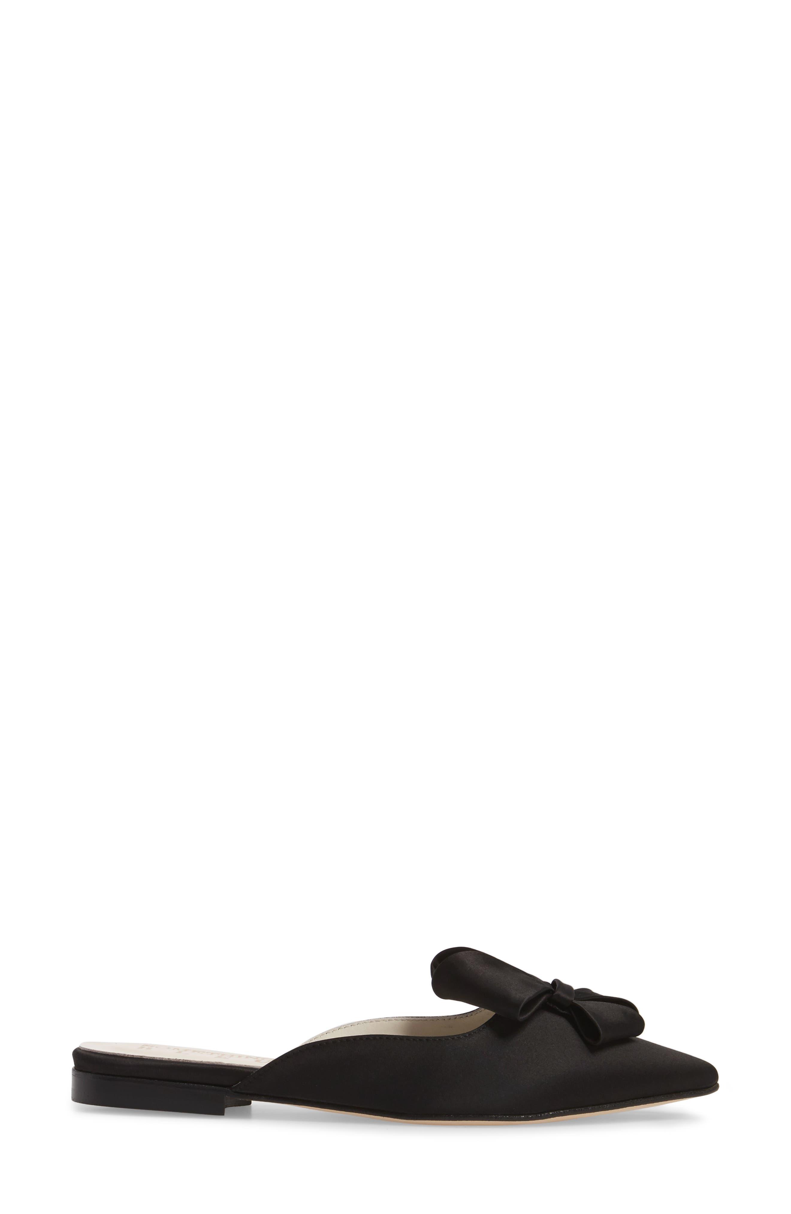 Prince Bow Loafer Mule,                             Alternate thumbnail 3, color,                             BLACK SATIN
