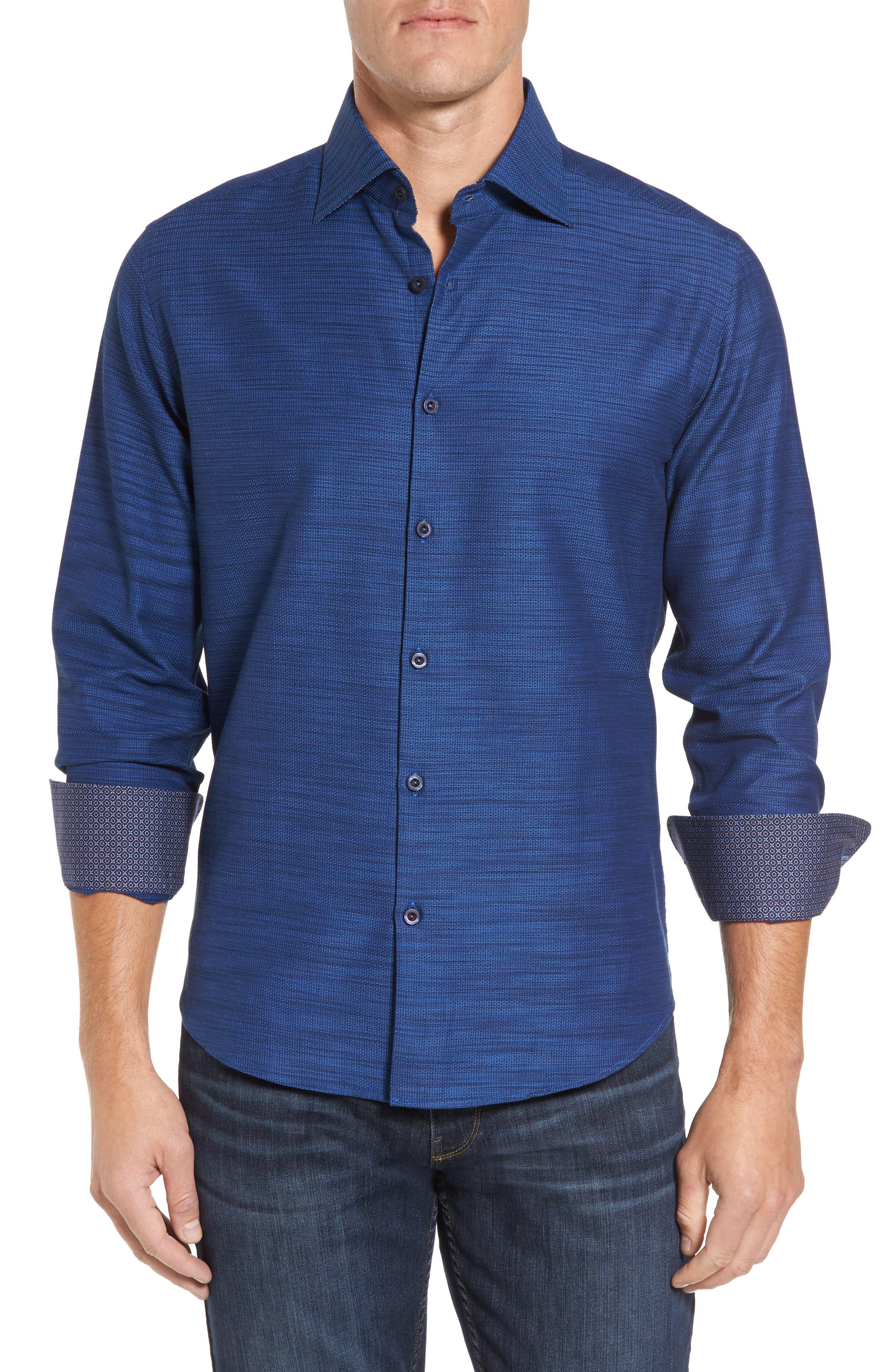 Slim Fit Mélange Textured Sport Shirt,                         Main,                         color, 430