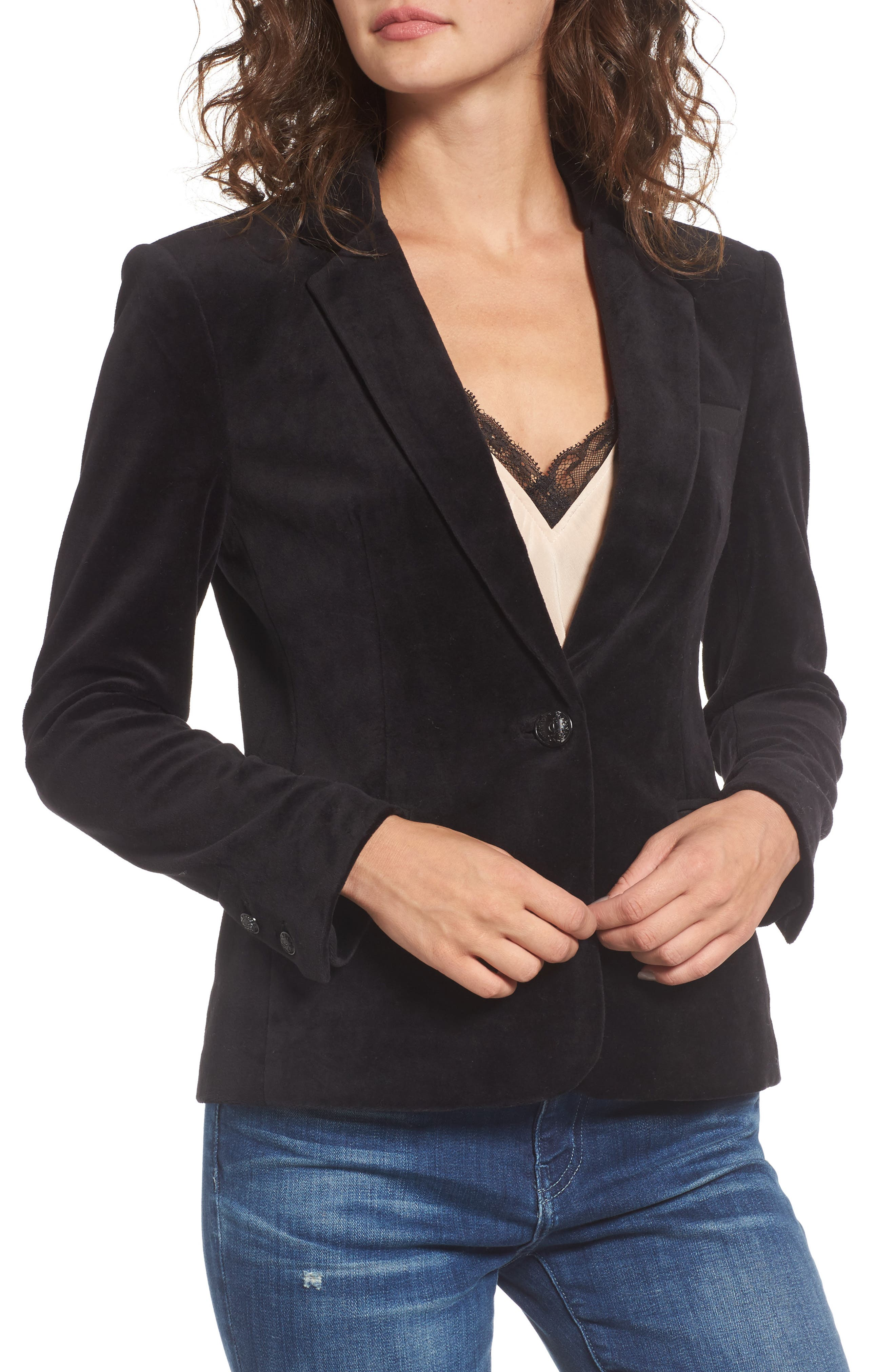 Track Velour Blazer,                             Alternate thumbnail 4, color,                             009