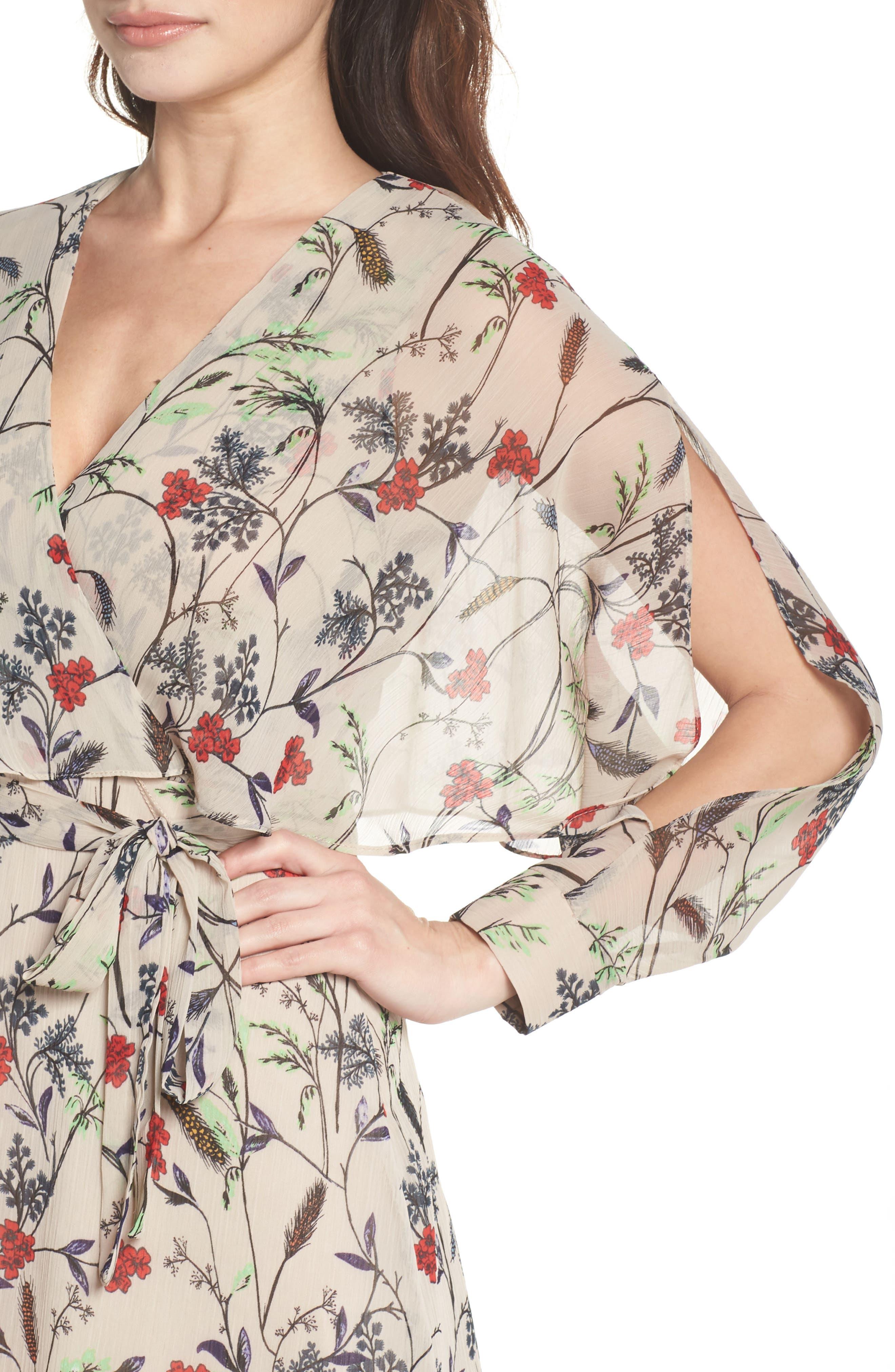 Yoryu Floral Chiffon Dress,                             Alternate thumbnail 4, color,                             280