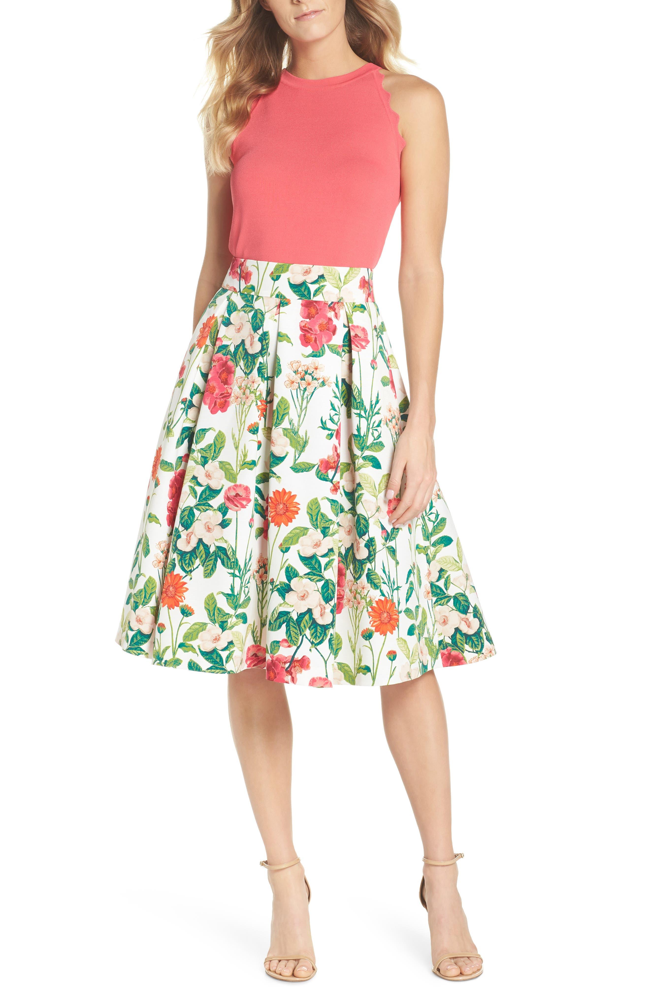 Floral A-Line Skirt,                             Alternate thumbnail 7, color,                             901