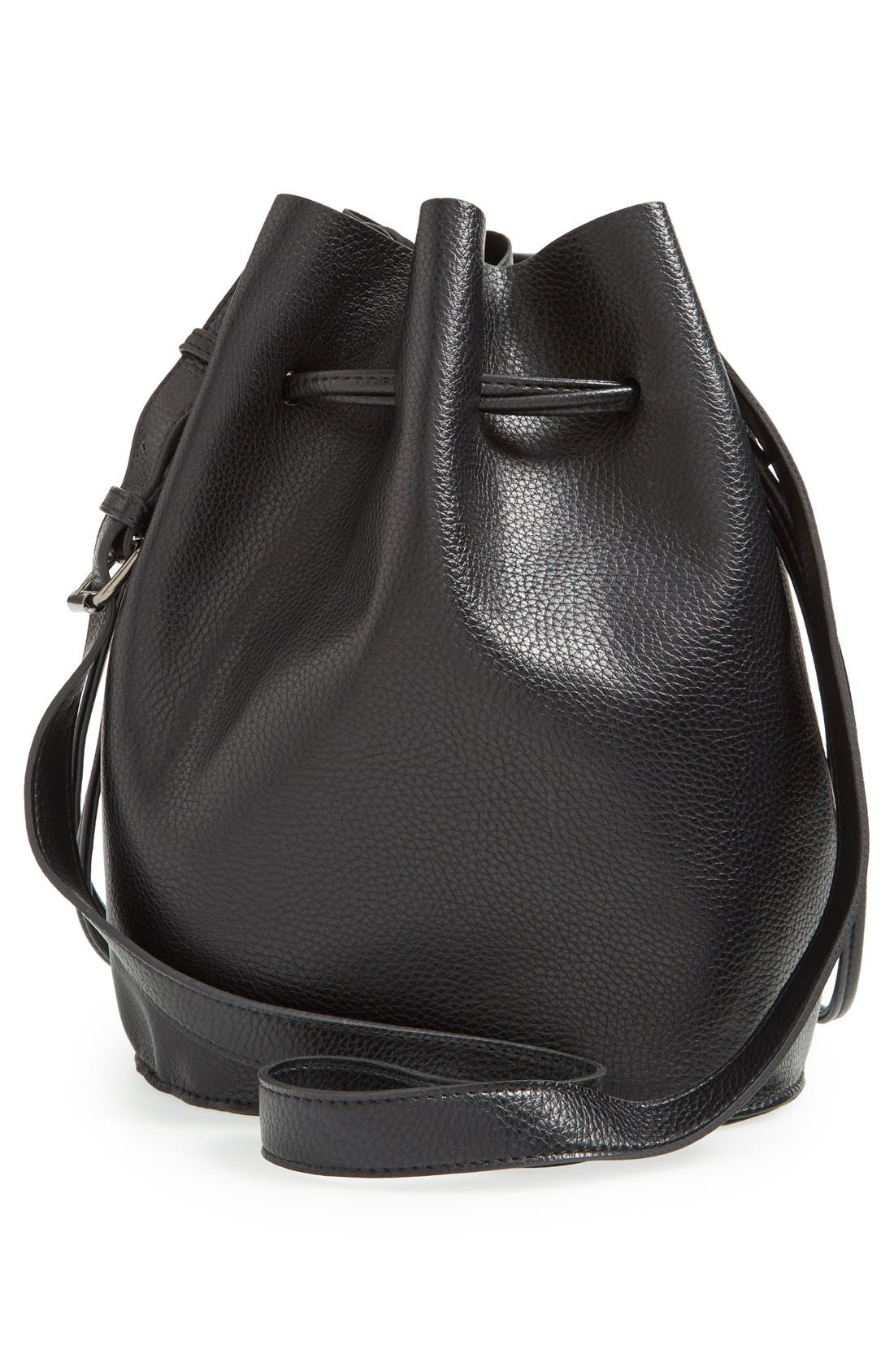 STREET LEVEL,                             Faux Leather Bucket Bag,                             Alternate thumbnail 6, color,                             001