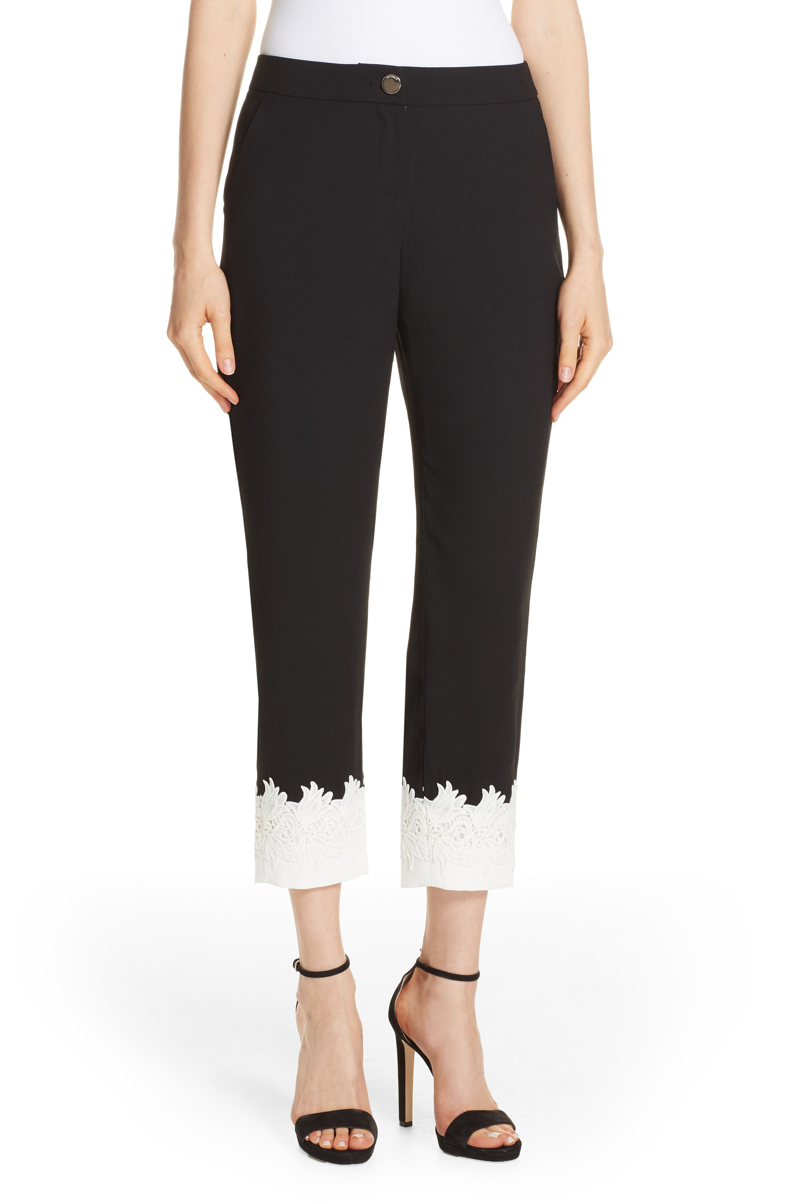 Fancisa Tapered Lace Cuff Pants in Black