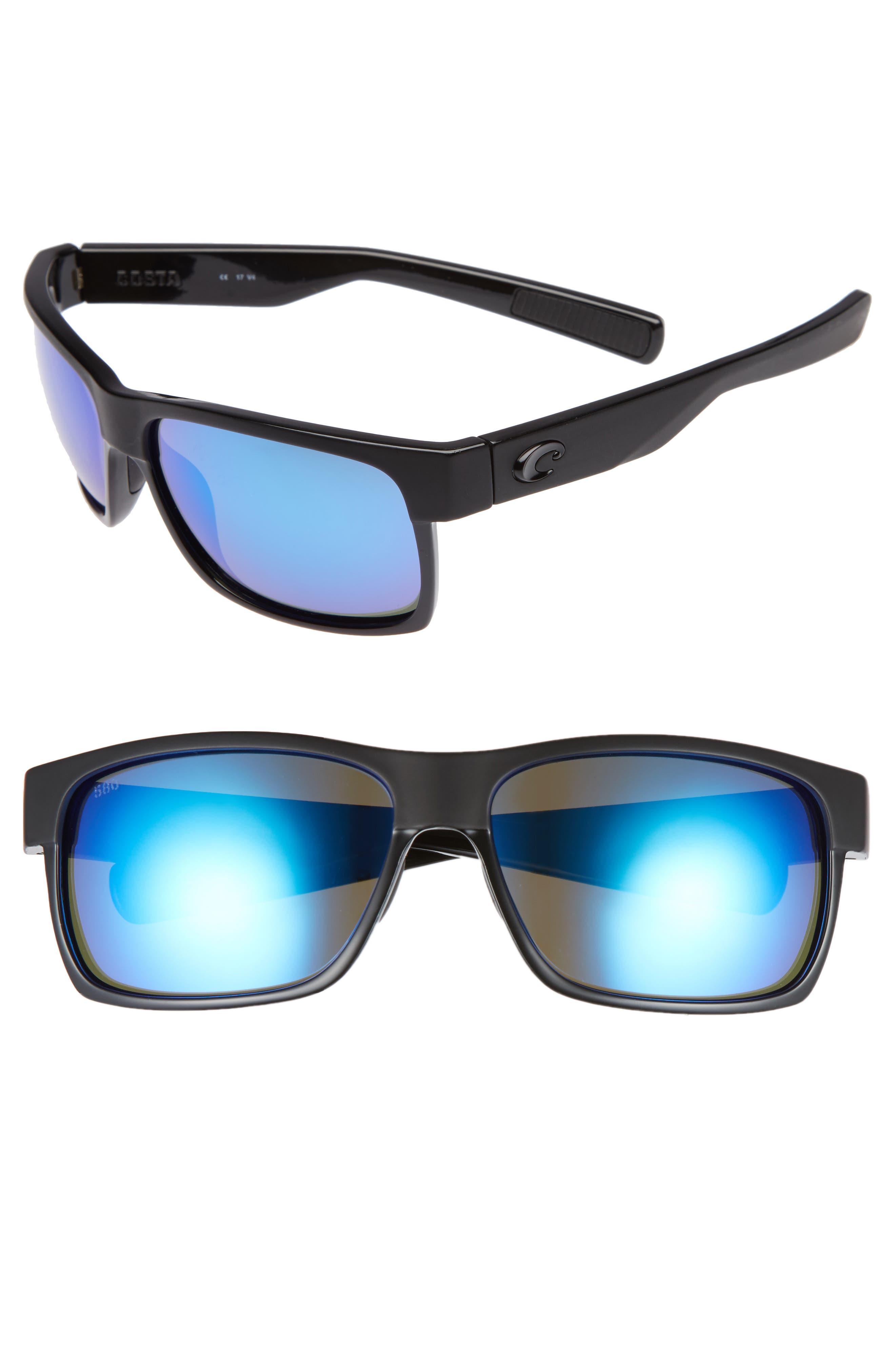 Half Moon 60mm Polarized Sunglasses,                             Main thumbnail 1, color,                             BLACK/ BLUE MIRROR